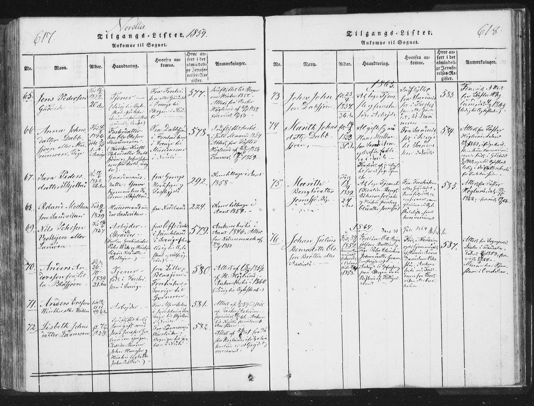 SAT, Ministerialprotokoller, klokkerbøker og fødselsregistre - Nord-Trøndelag, 755/L0491: Ministerialbok nr. 755A01 /1, 1817-1864, s. 617-618