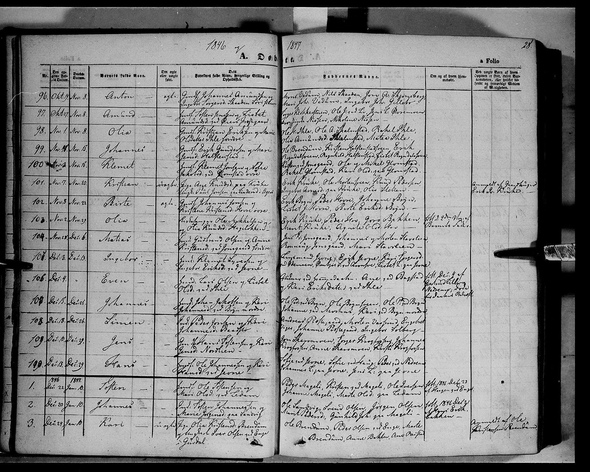 SAH, Øyer prestekontor, Ministerialbok nr. 5, 1842-1857, s. 28