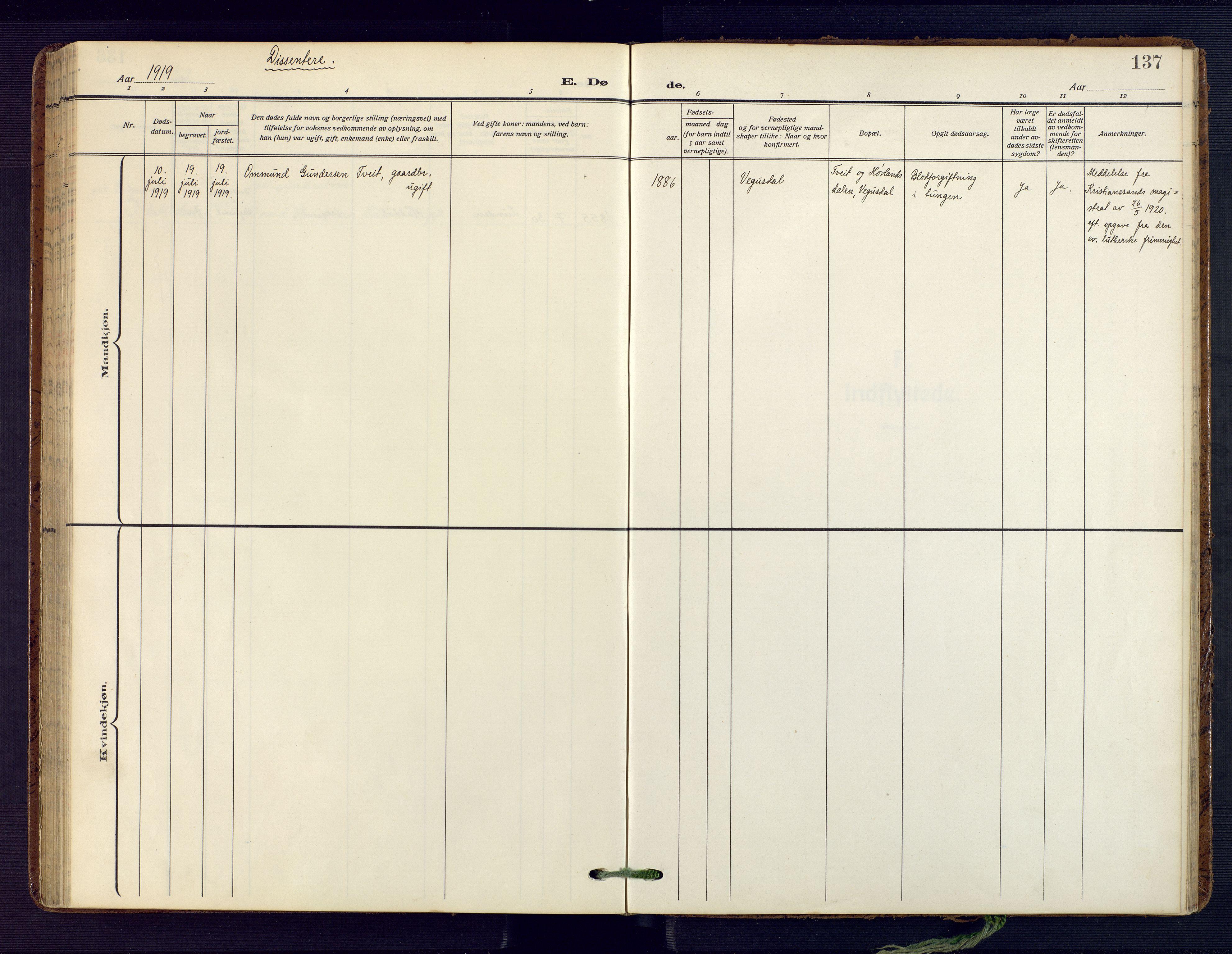SAK, Herefoss sokneprestkontor, F/Fa/Fab/L0005: Ministerialbok nr. A 5, 1910-1932, s. 137