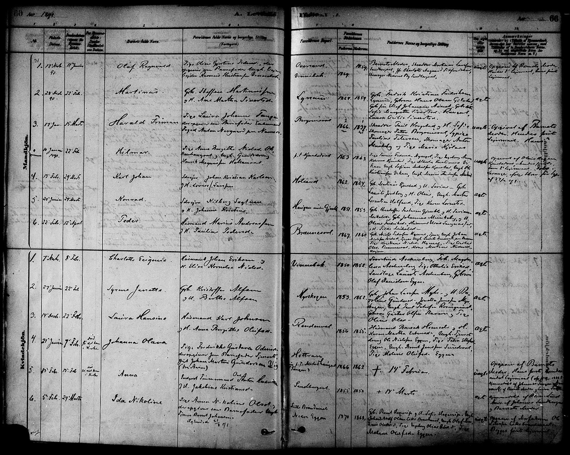 SAT, Ministerialprotokoller, klokkerbøker og fødselsregistre - Nord-Trøndelag, 717/L0159: Ministerialbok nr. 717A09, 1878-1898, s. 66
