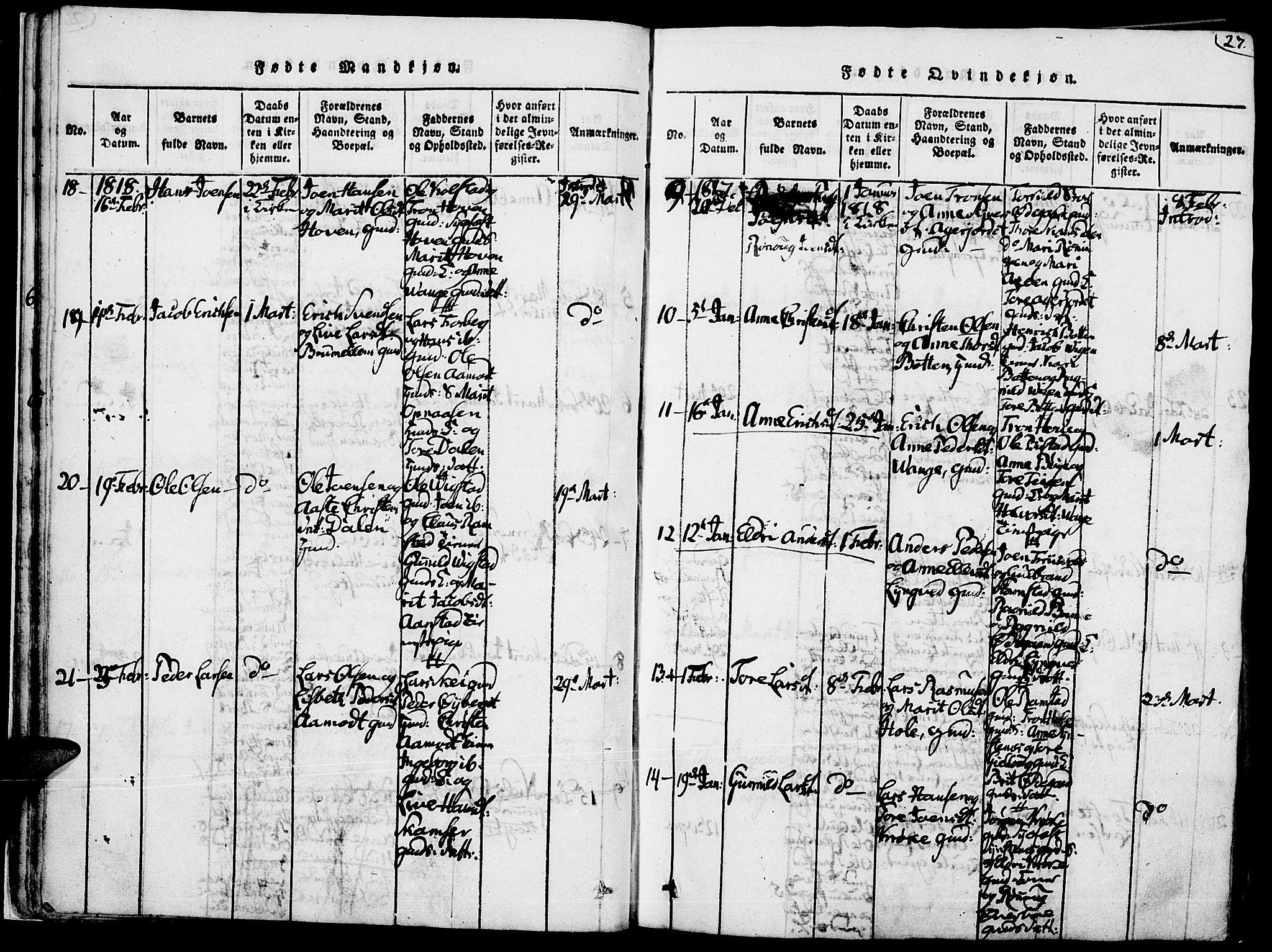 SAH, Lom prestekontor, K/L0004: Ministerialbok nr. 4, 1815-1825, s. 27