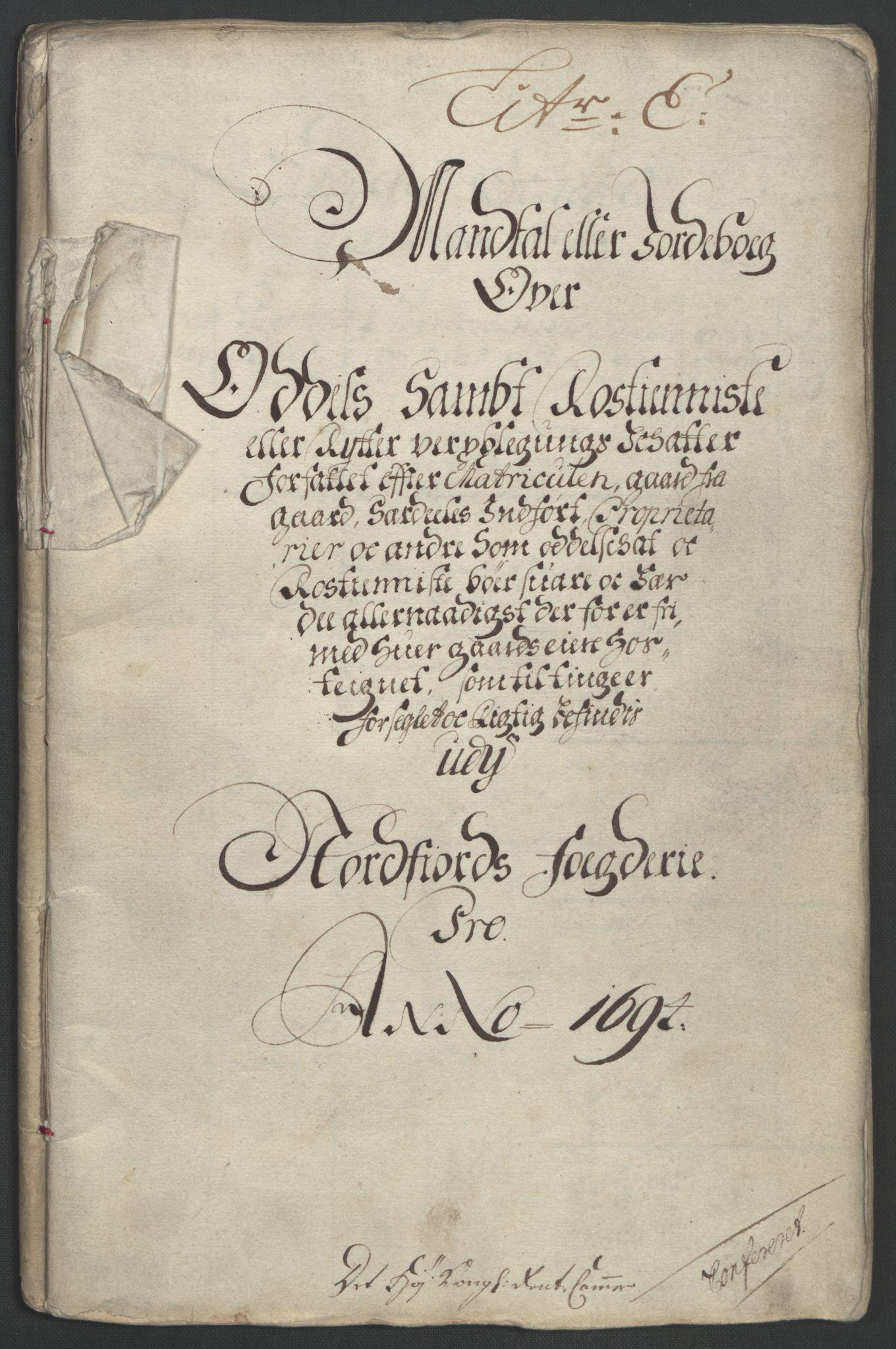 RA, Rentekammeret inntil 1814, Reviderte regnskaper, Fogderegnskap, R53/L3421: Fogderegnskap Sunn- og Nordfjord, 1693-1694, s. 338