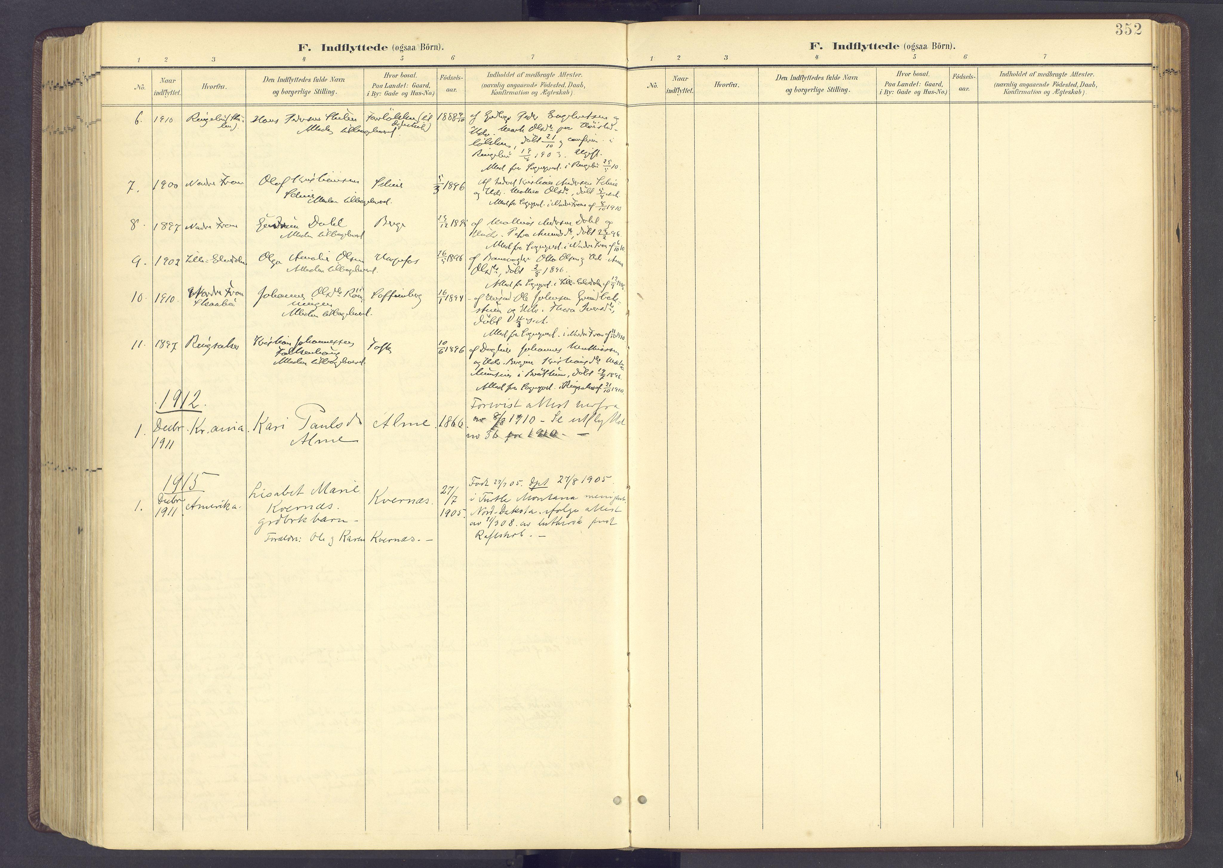 SAH, Sør-Fron prestekontor, H/Ha/Haa/L0004: Ministerialbok nr. 4, 1898-1919, s. 352