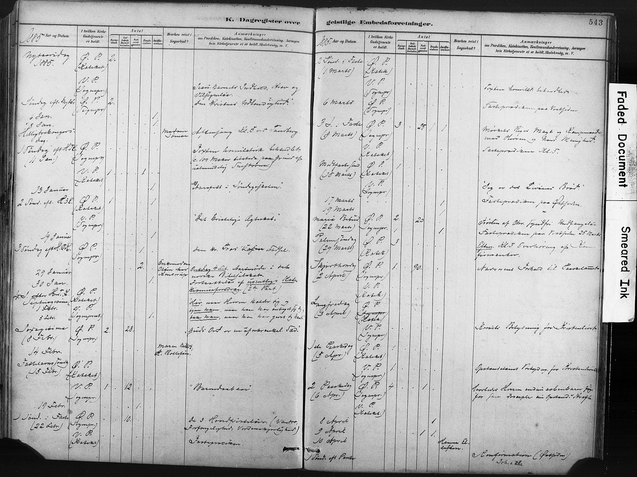 SAKO, Porsgrunn kirkebøker , F/Fa/L0008: Ministerialbok nr. 8, 1878-1895, s. 543