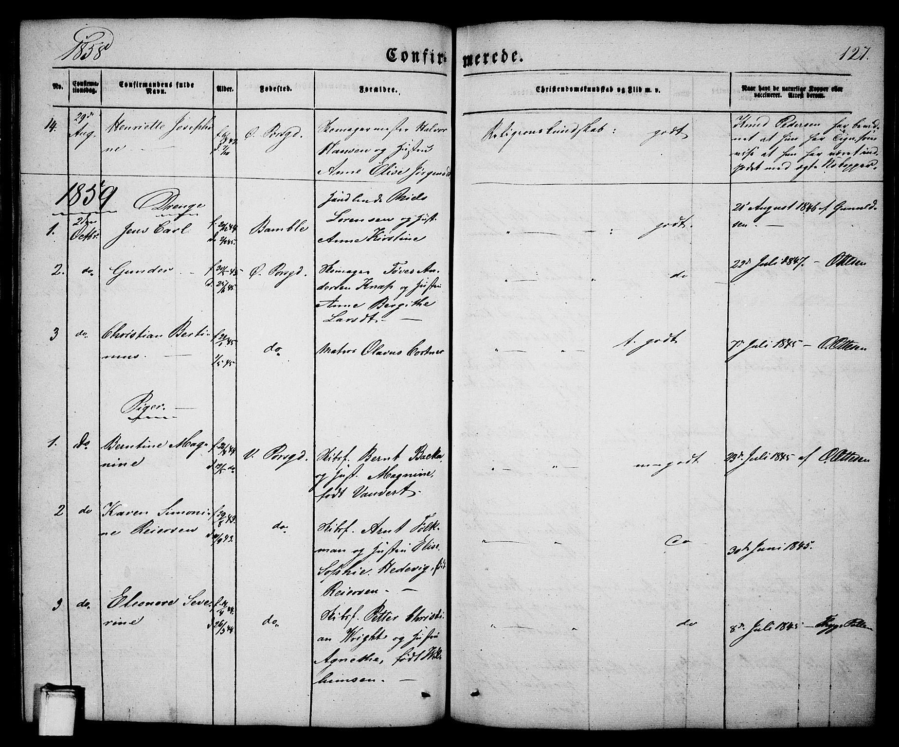 SAKO, Porsgrunn kirkebøker , G/Ga/L0002: Klokkerbok nr. I 2, 1847-1877, s. 127