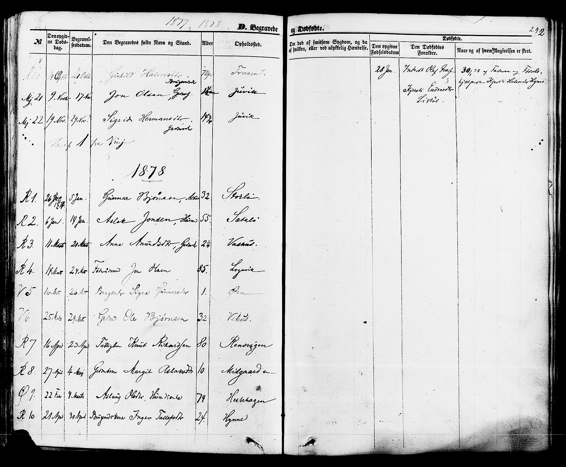 SAKO, Rauland kirkebøker, F/Fa/L0003: Ministerialbok nr. 3, 1859-1886, s. 292