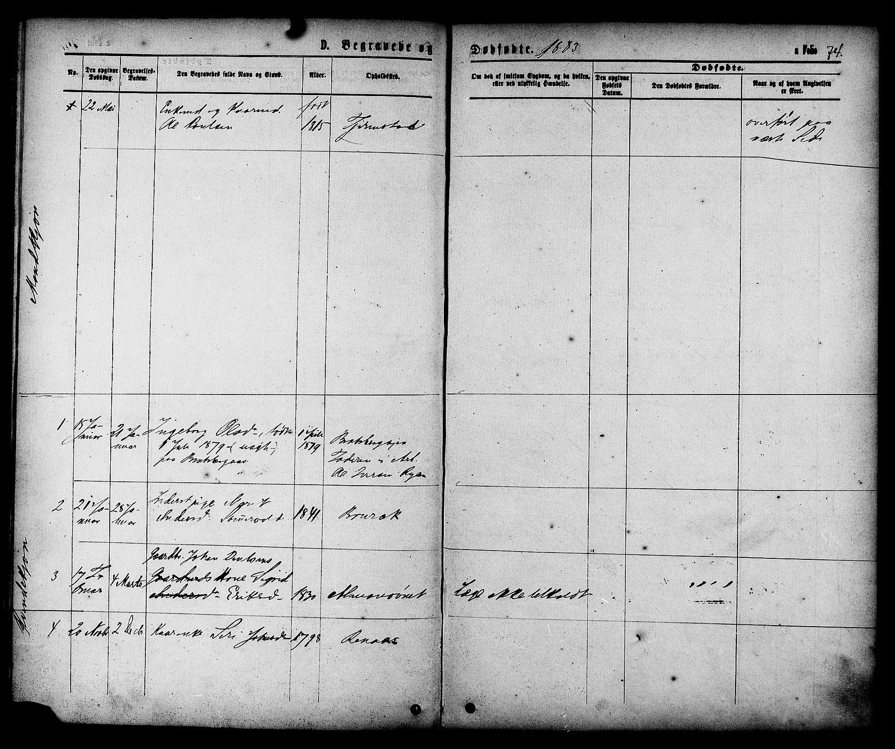 SAT, Ministerialprotokoller, klokkerbøker og fødselsregistre - Sør-Trøndelag, 608/L0334: Ministerialbok nr. 608A03, 1877-1886, s. 74