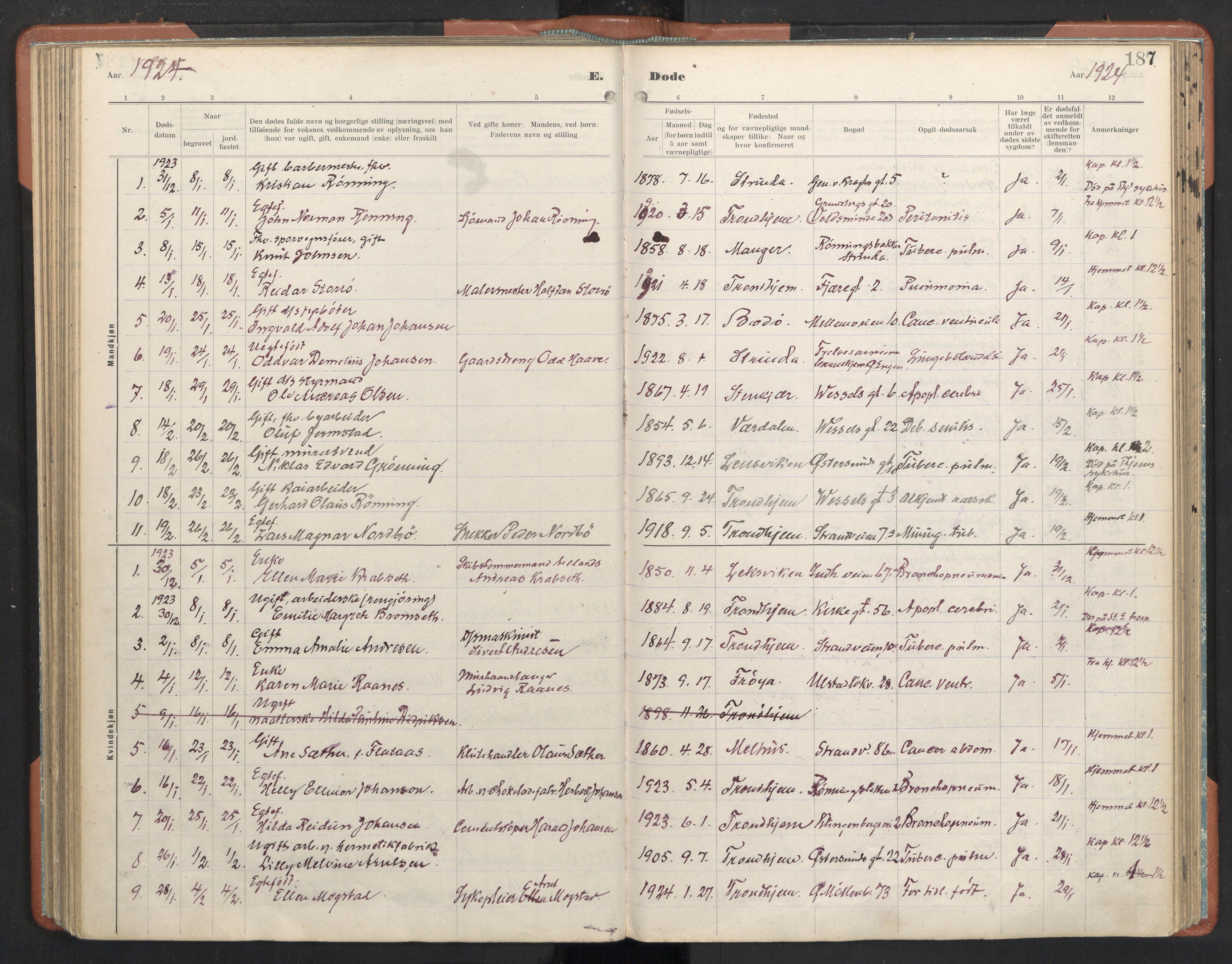 SAT, Ministerialprotokoller, klokkerbøker og fødselsregistre - Sør-Trøndelag, 605/L0245: Ministerialbok nr. 605A07, 1916-1938, s. 187
