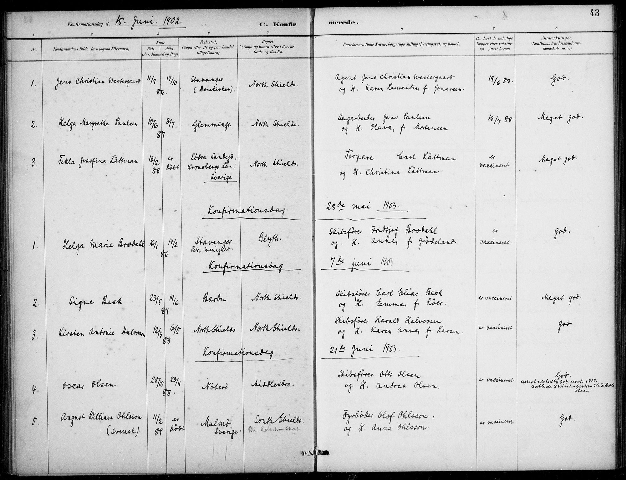 SAB, Den Norske Sjømannsmisjon i utlandet*, Ministerialbok nr. A 2, 1883-1936, s. 43