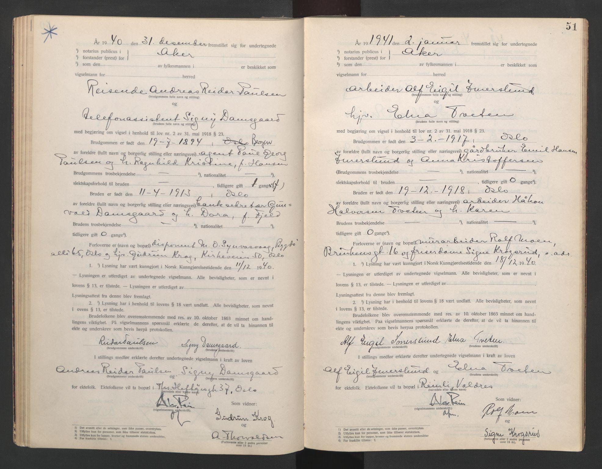 SAO, Aker sorenskriveri, L/Lc/Lcb/L0013: Vigselprotokoll, 1940-1941, s. 51