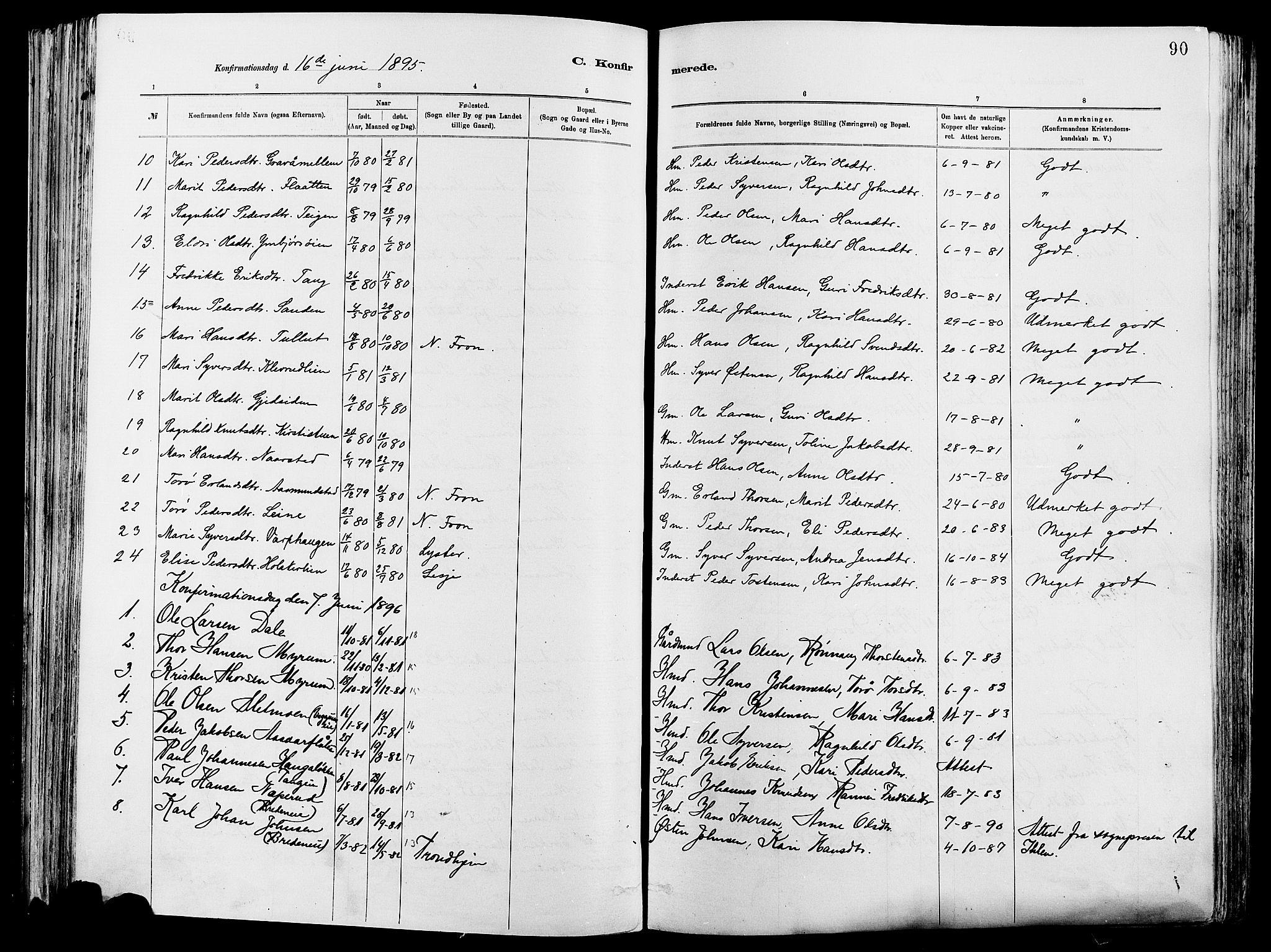 SAH, Vågå prestekontor, Ministerialbok nr. 8, 1886-1904, s. 90