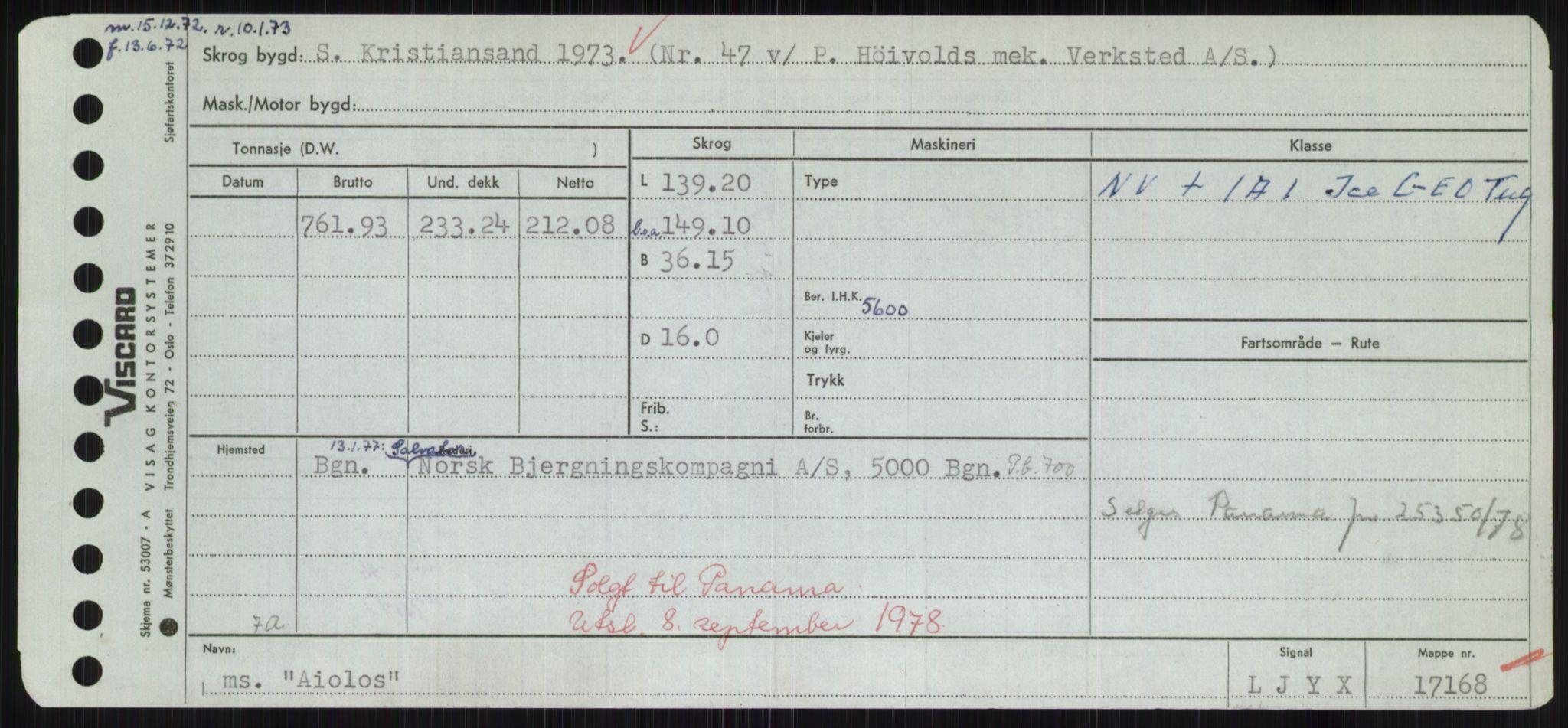 RA, Sjøfartsdirektoratet med forløpere, Skipsmålingen, H/Hd/L0001: Fartøy, A-Anv, s. 165