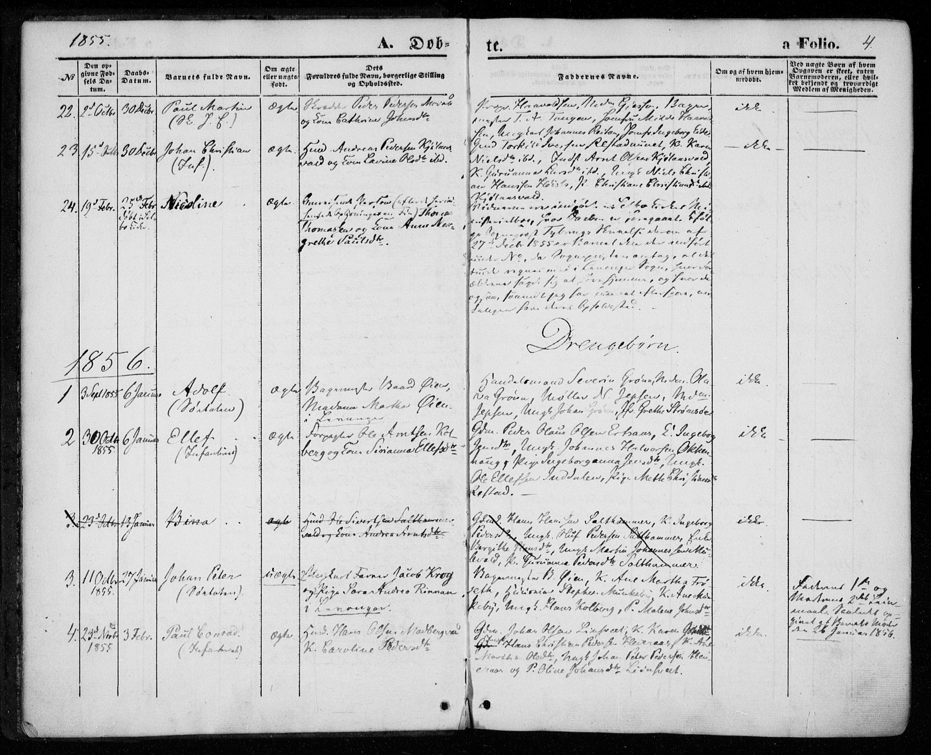 SAT, Ministerialprotokoller, klokkerbøker og fødselsregistre - Nord-Trøndelag, 720/L0184: Ministerialbok nr. 720A02 /2, 1855-1863, s. 4