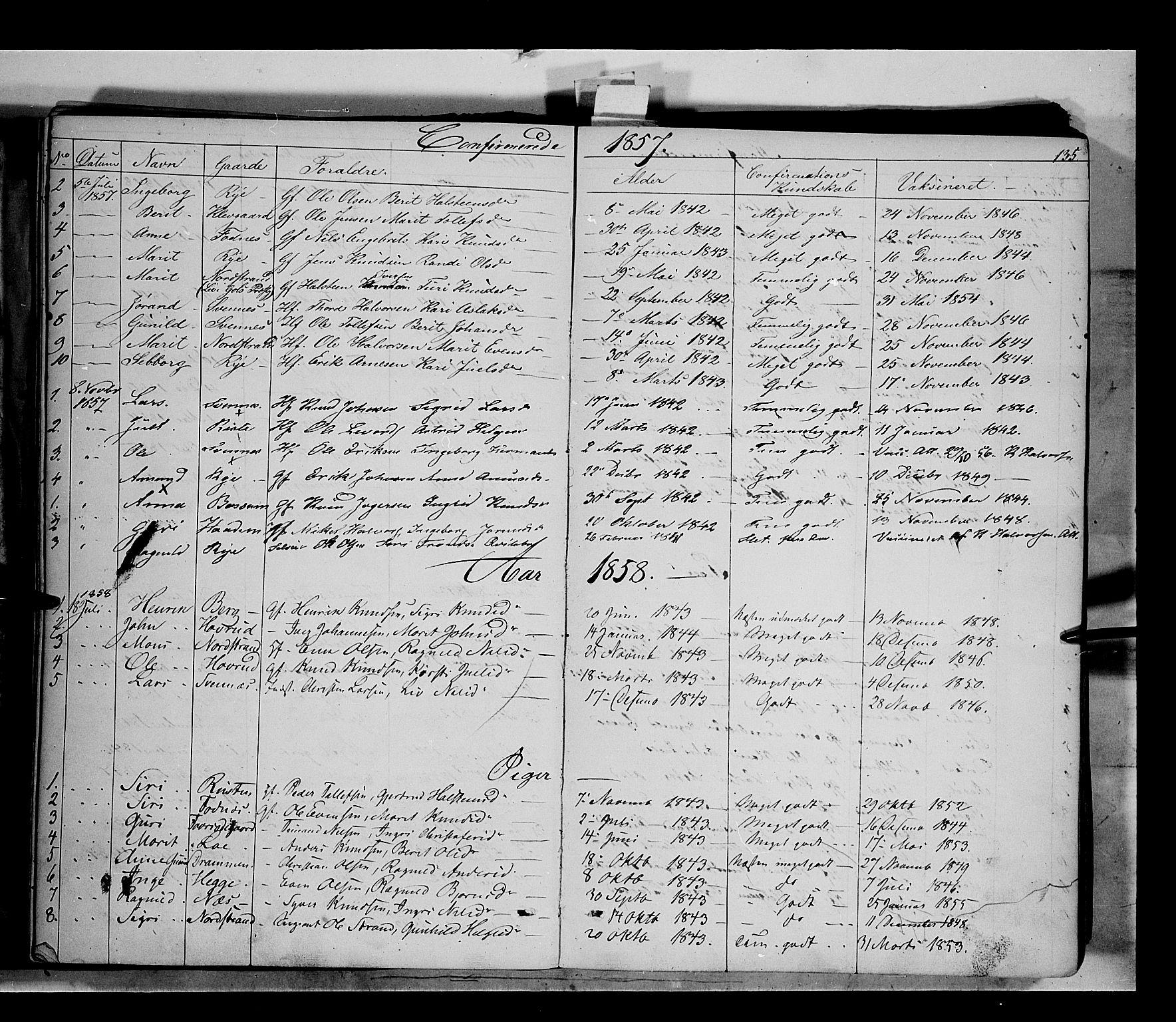 SAH, Nord-Aurdal prestekontor, Ministerialbok nr. 5, 1842-1863, s. 135