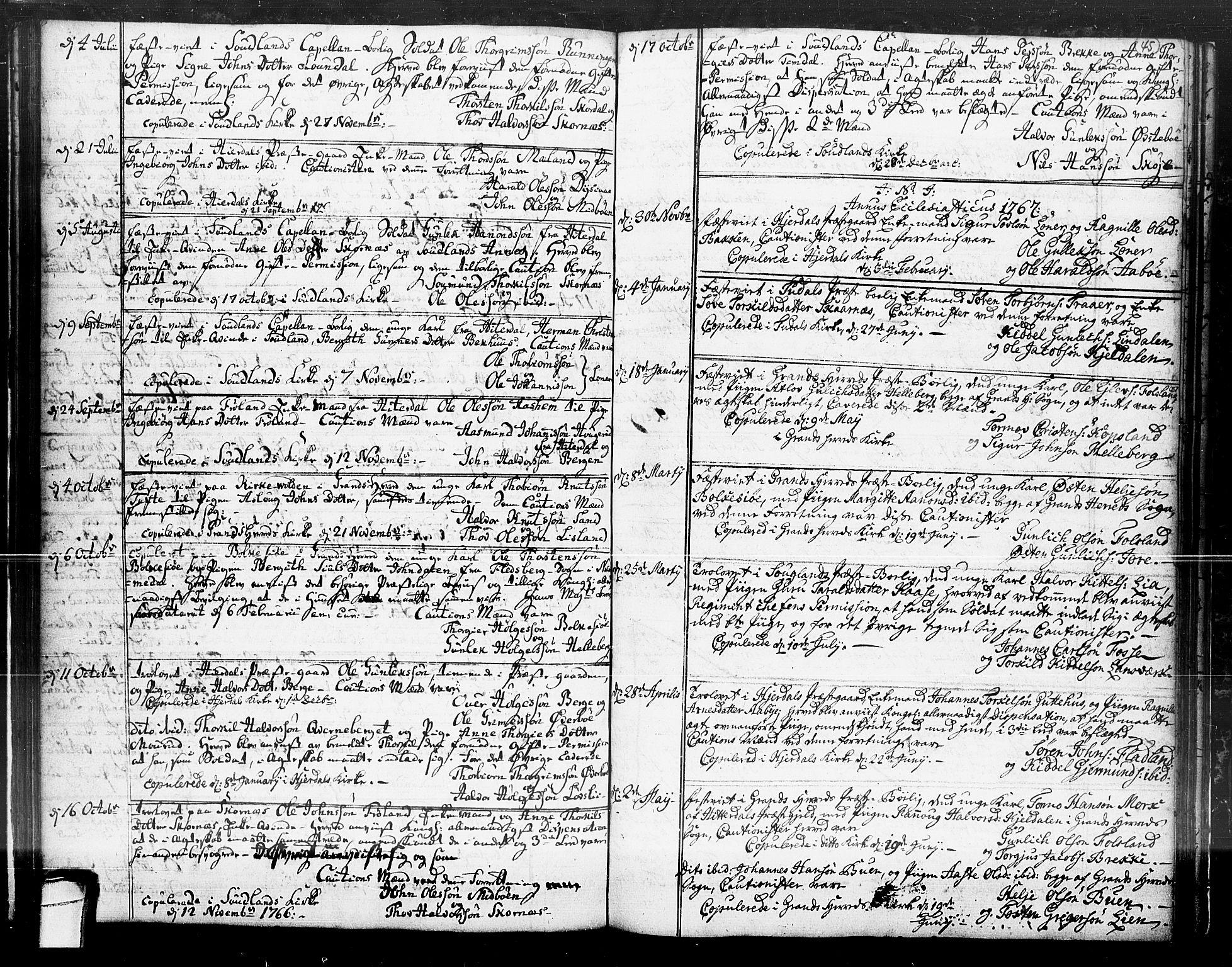 SAKO, Hjartdal kirkebøker, F/Fa/L0004: Ministerialbok nr. I 4, 1727-1795, s. 45