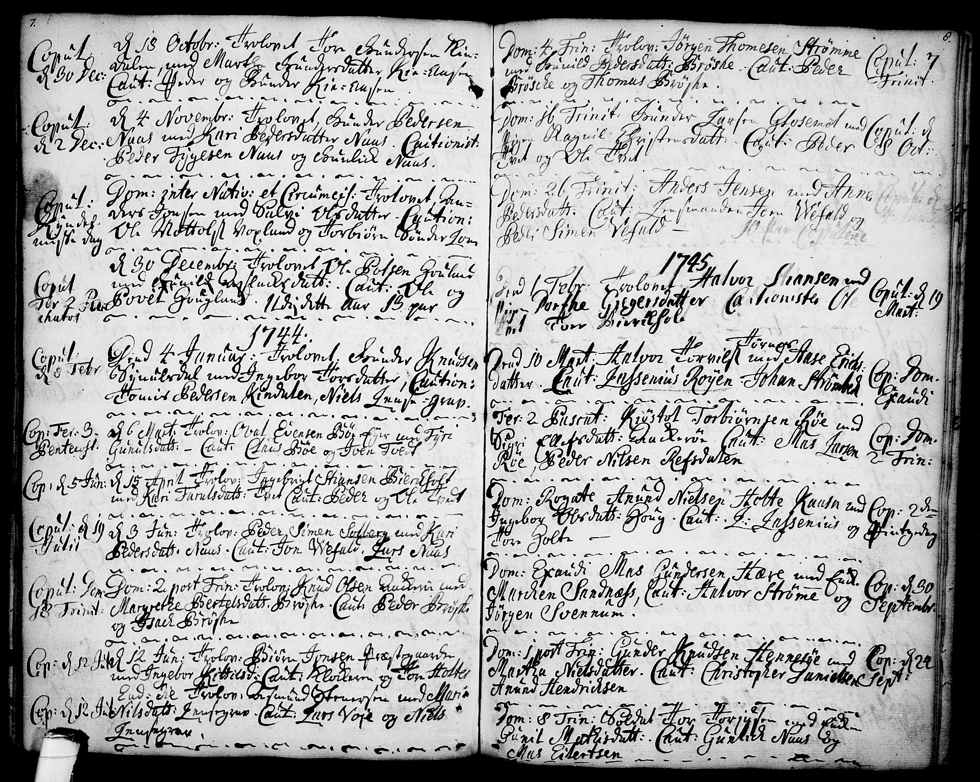 SAKO, Drangedal kirkebøker, F/Fa/L0001: Ministerialbok nr. 1, 1697-1767, s. 7-8