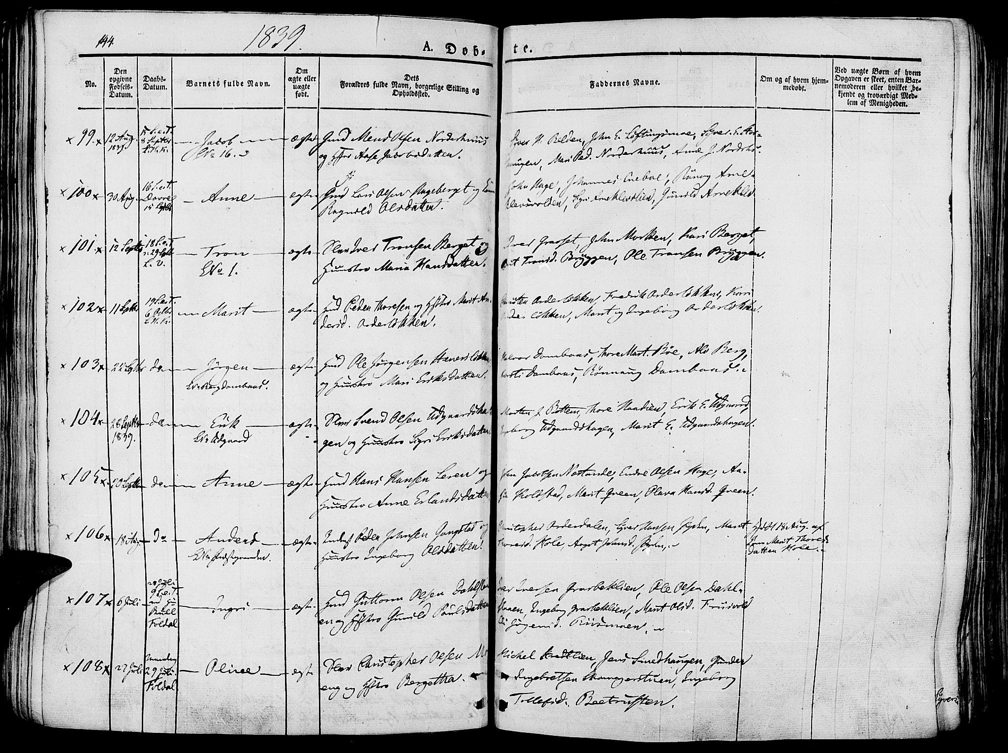 SAH, Lesja prestekontor, Ministerialbok nr. 5, 1830-1842, s. 144