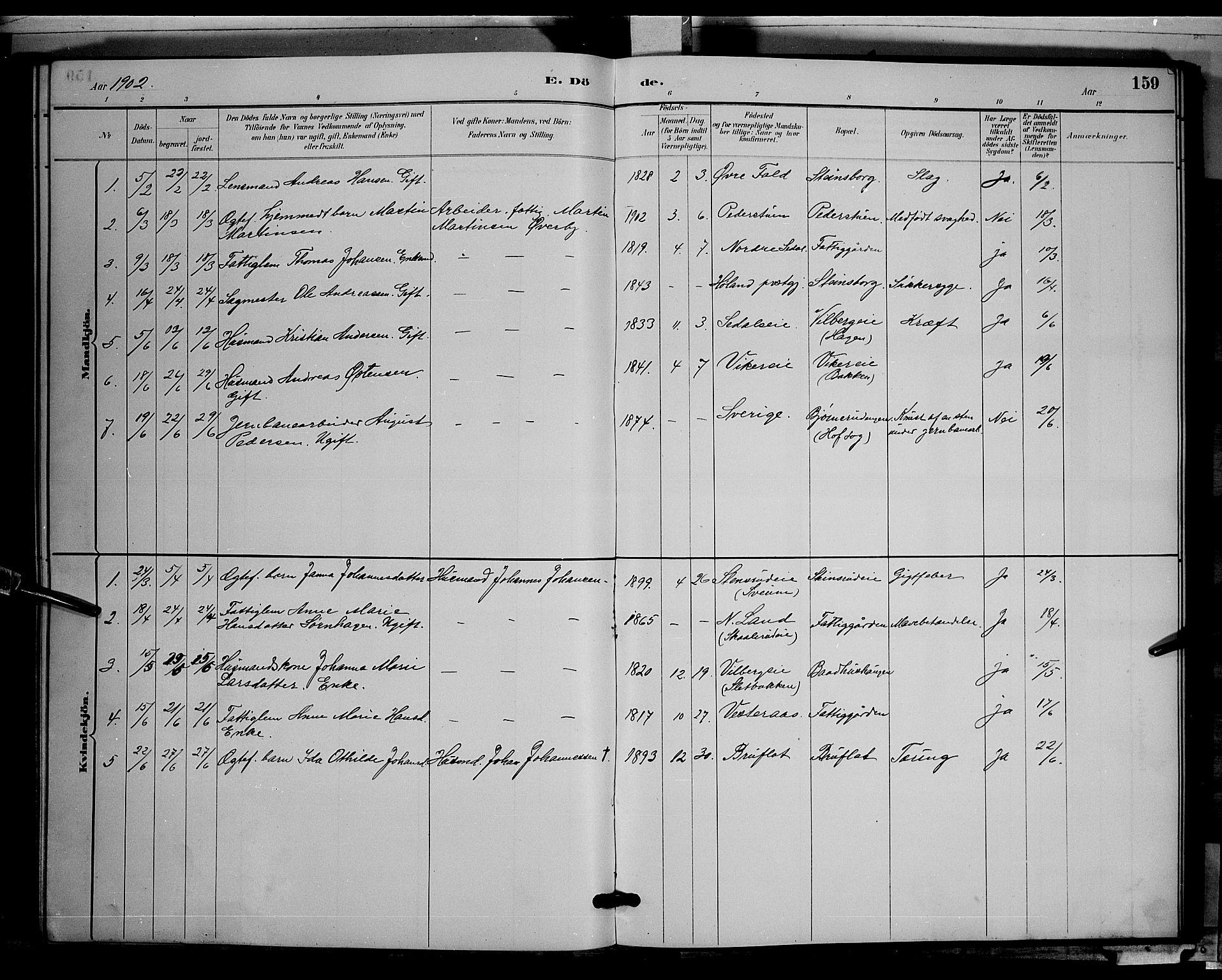 SAH, Søndre Land prestekontor, L/L0003: Klokkerbok nr. 3, 1884-1902, s. 159