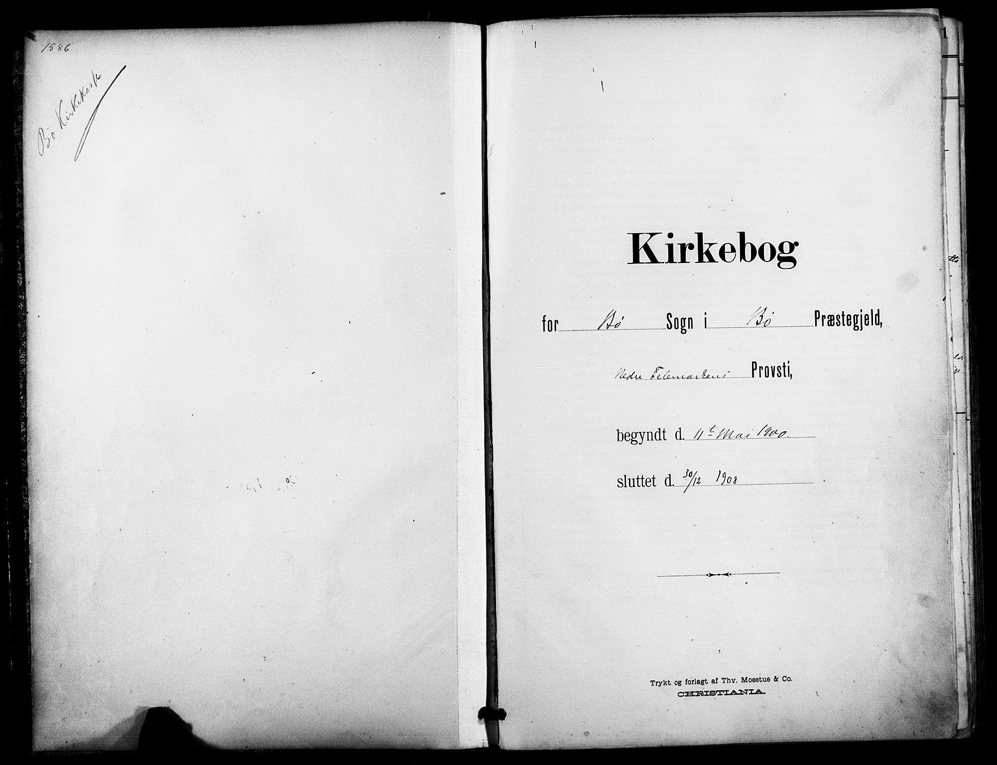 SAKO, Bø kirkebøker, F/Fa/L0012: Ministerialbok nr. 12, 1900-1908