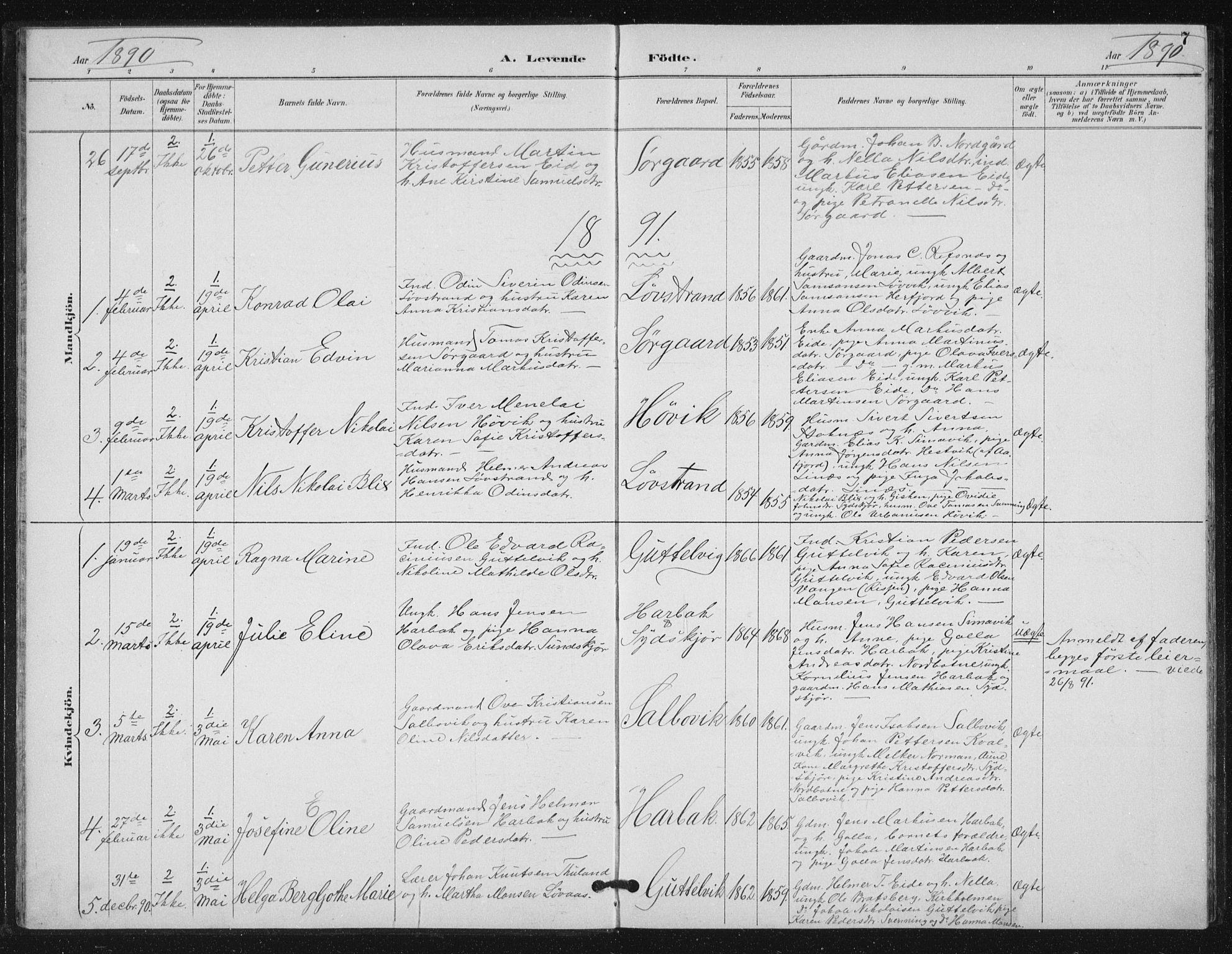 SAT, Ministerialprotokoller, klokkerbøker og fødselsregistre - Sør-Trøndelag, 656/L0698: Klokkerbok nr. 656C04, 1890-1904, s. 7