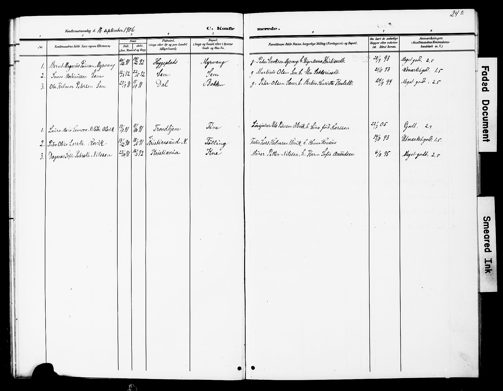 SAT, Ministerialprotokoller, klokkerbøker og fødselsregistre - Nord-Trøndelag, 748/L0464: Ministerialbok nr. 748A01, 1900-1908, s. 24c