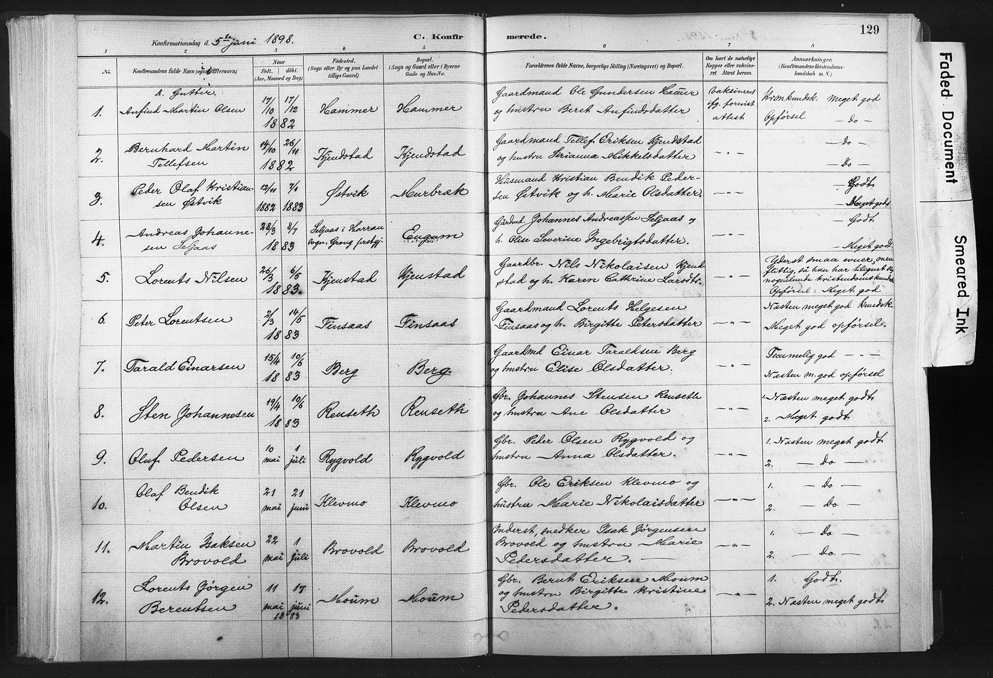 SAT, Ministerialprotokoller, klokkerbøker og fødselsregistre - Nord-Trøndelag, 749/L0474: Ministerialbok nr. 749A08, 1887-1903, s. 129