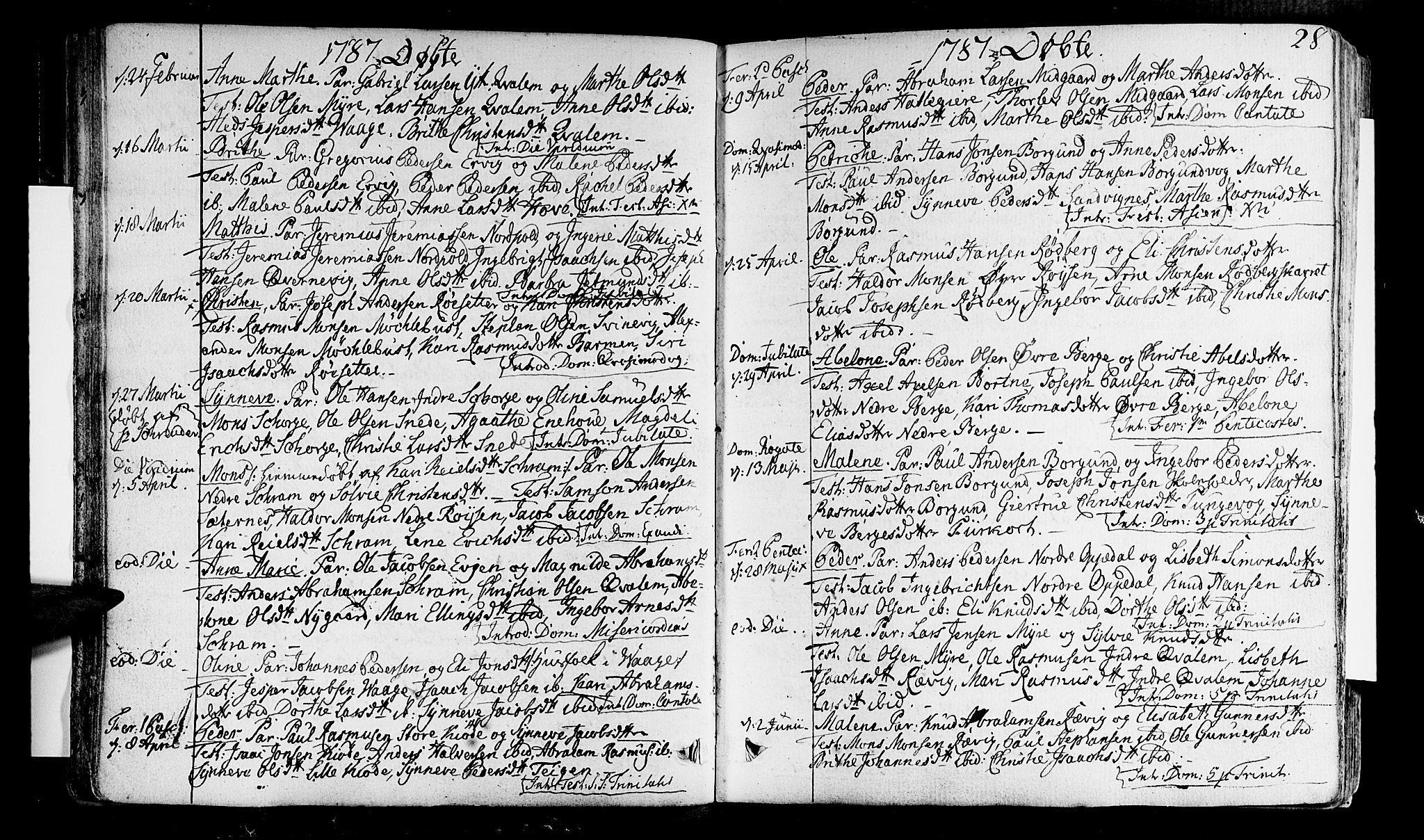 SAB, Selje sokneprestembete*, Ministerialbok nr. A 6, 1782-1806, s. 28
