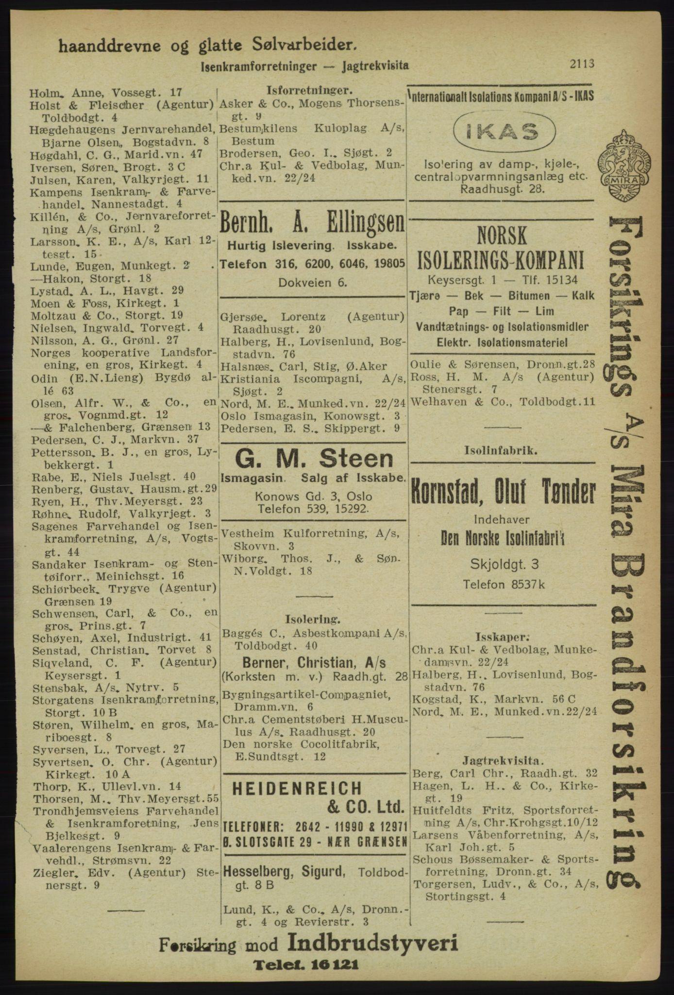 RA, Kristiania adressebok (publikasjon)*, 1918, s. 2113