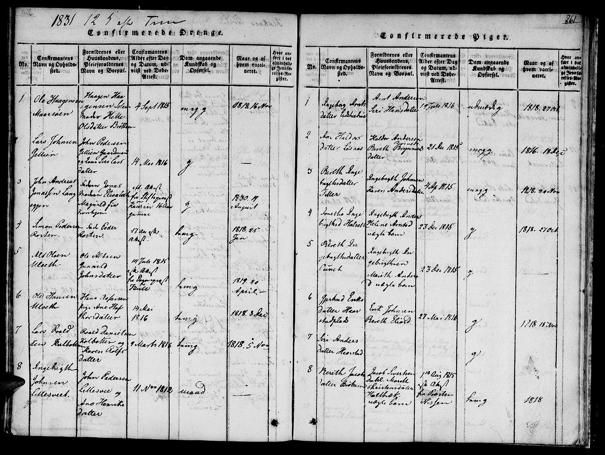 SAT, Ministerialprotokoller, klokkerbøker og fødselsregistre - Sør-Trøndelag, 618/L0439: Ministerialbok nr. 618A04 /1, 1816-1843, s. 261