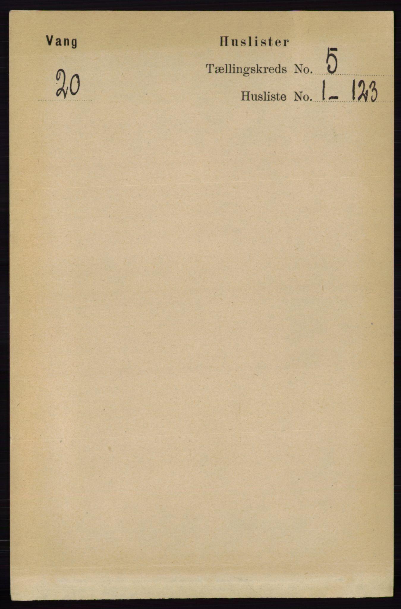 RA, Folketelling 1891 for 0414 Vang herred, 1891, s. 3384
