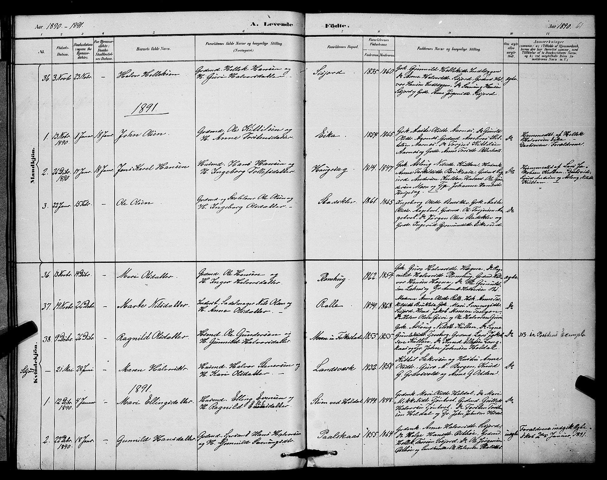 SAKO, Bø kirkebøker, G/Ga/L0005: Klokkerbok nr. 5, 1883-1897, s. 61
