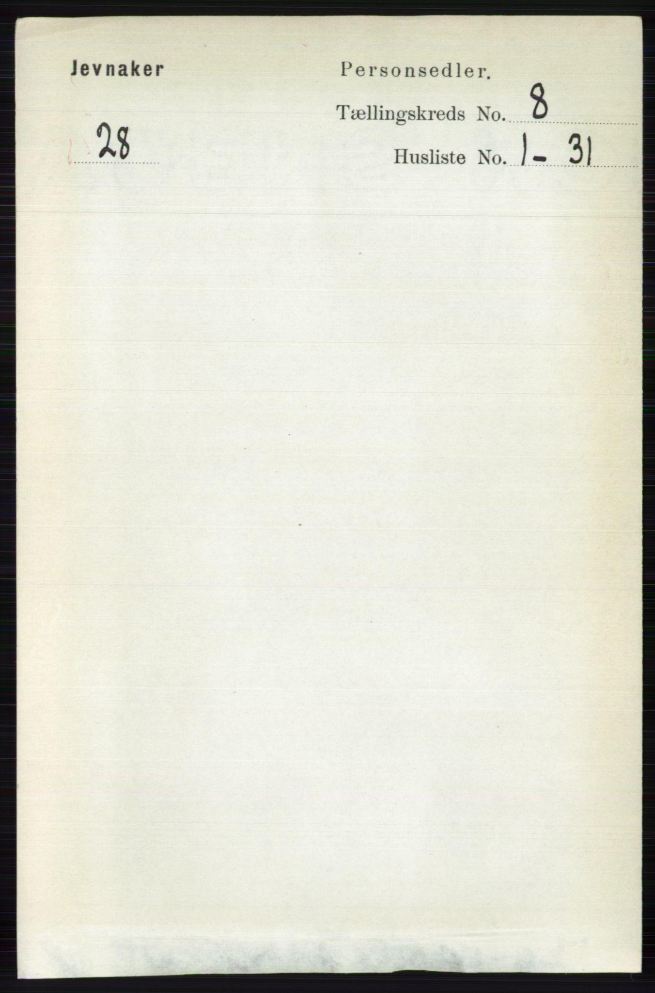 RA, Folketelling 1891 for 0532 Jevnaker herred, 1891, s. 4338