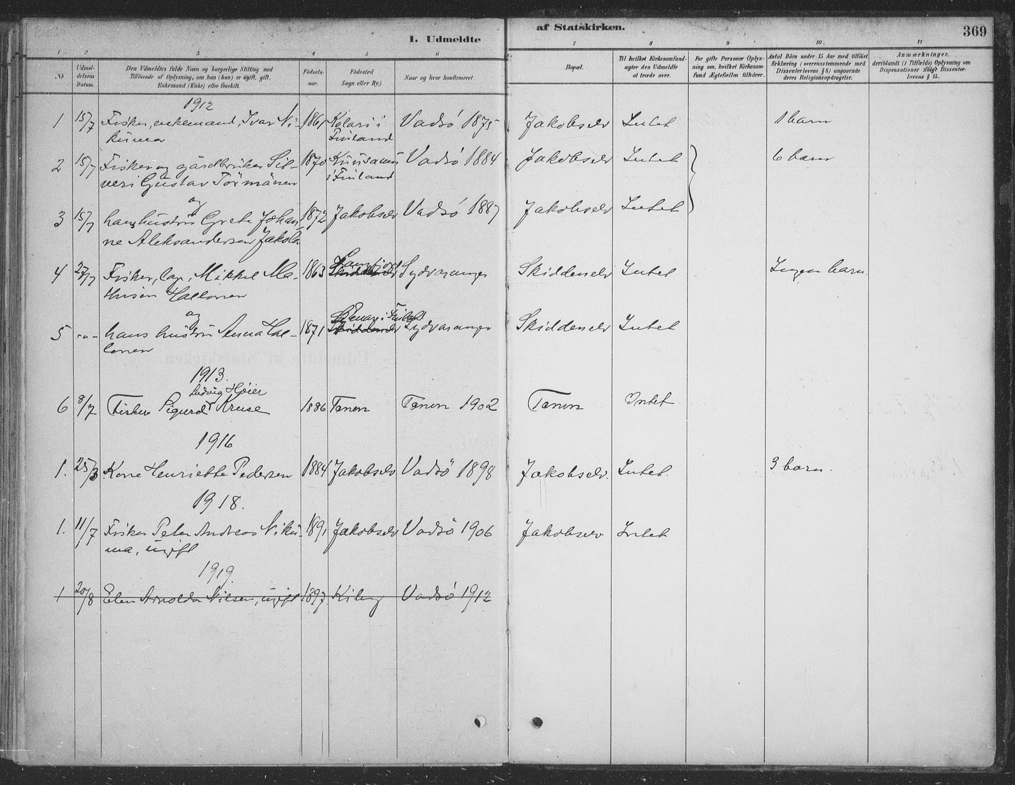 SATØ, Vadsø sokneprestkontor, H/Ha/L0009kirke: Ministerialbok nr. 9, 1881-1917, s. 369