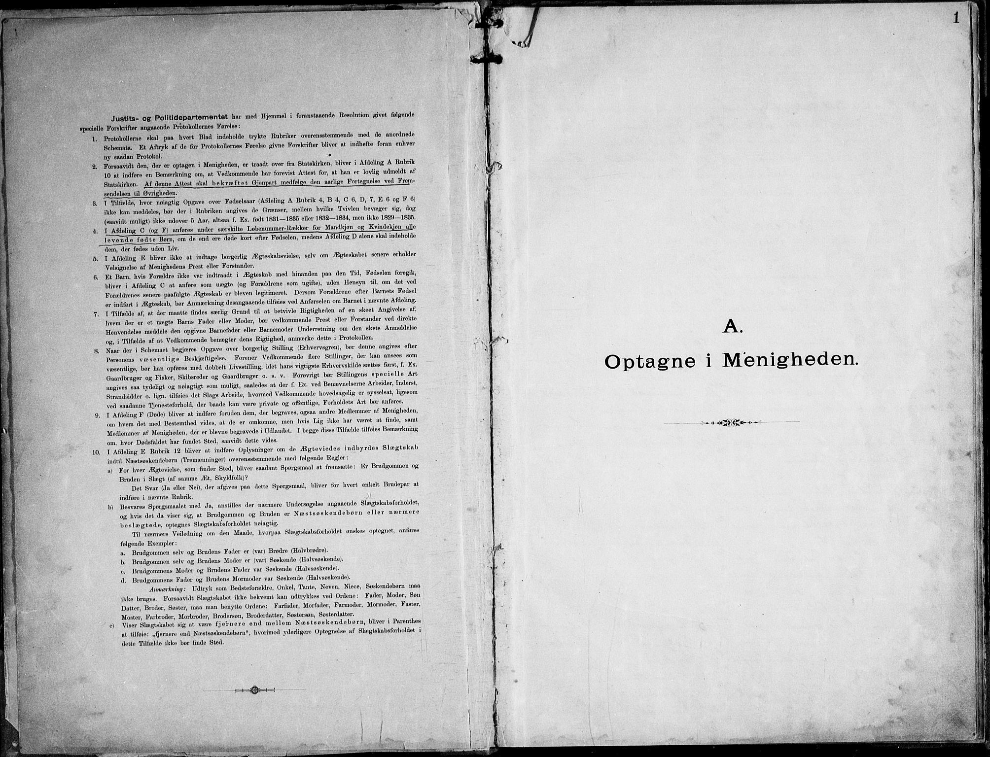 SAT, Ministerialprotokoller, klokkerbøker og fødselsregistre - Nordland, 888/L1276: Dissenterprotokoll nr. 888D03, 1893-1944, s. 1