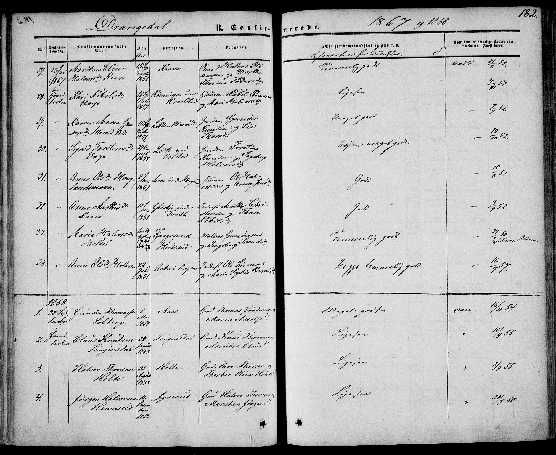 SAKO, Drangedal kirkebøker, F/Fa/L0008: Ministerialbok nr. 8, 1857-1871, s. 182
