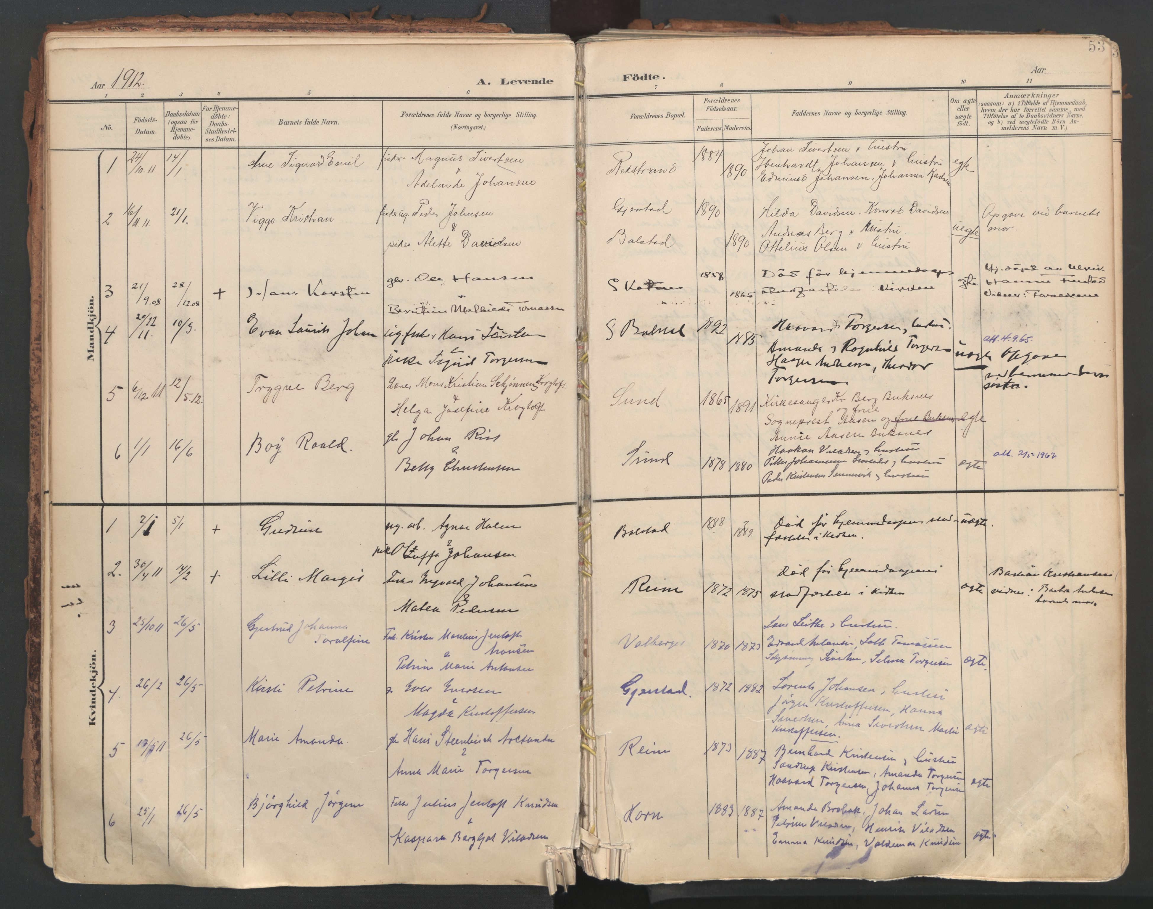 SAT, Ministerialprotokoller, klokkerbøker og fødselsregistre - Nordland, 881/L1154: Ministerialbok nr. 881A07, 1907-1918, s. 53
