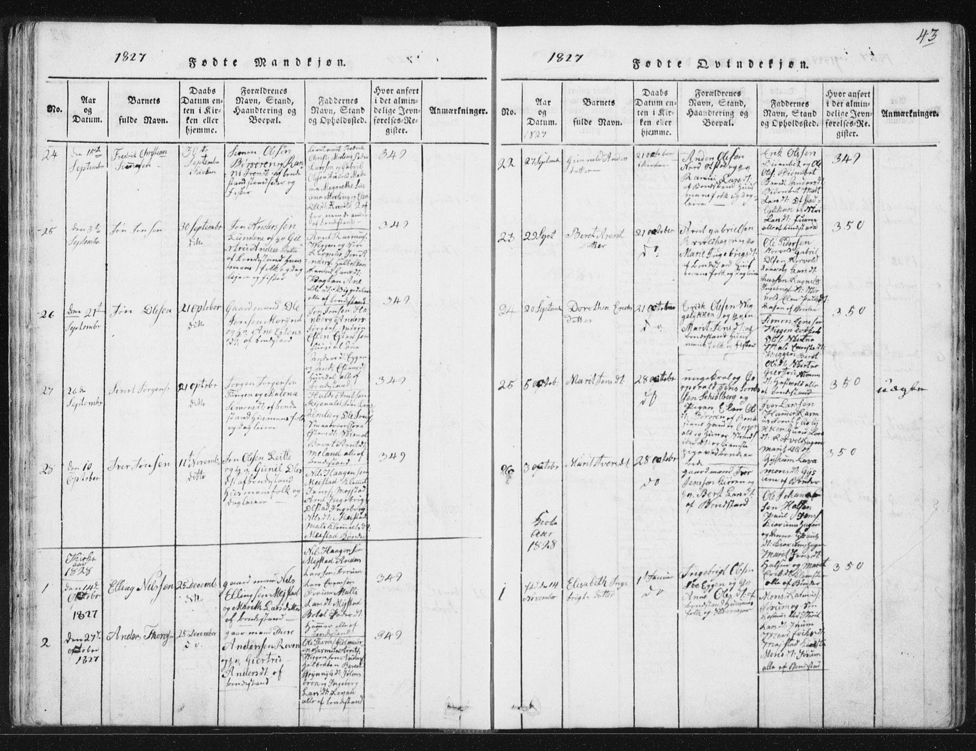 SAT, Ministerialprotokoller, klokkerbøker og fødselsregistre - Sør-Trøndelag, 665/L0770: Ministerialbok nr. 665A05, 1817-1829, s. 43