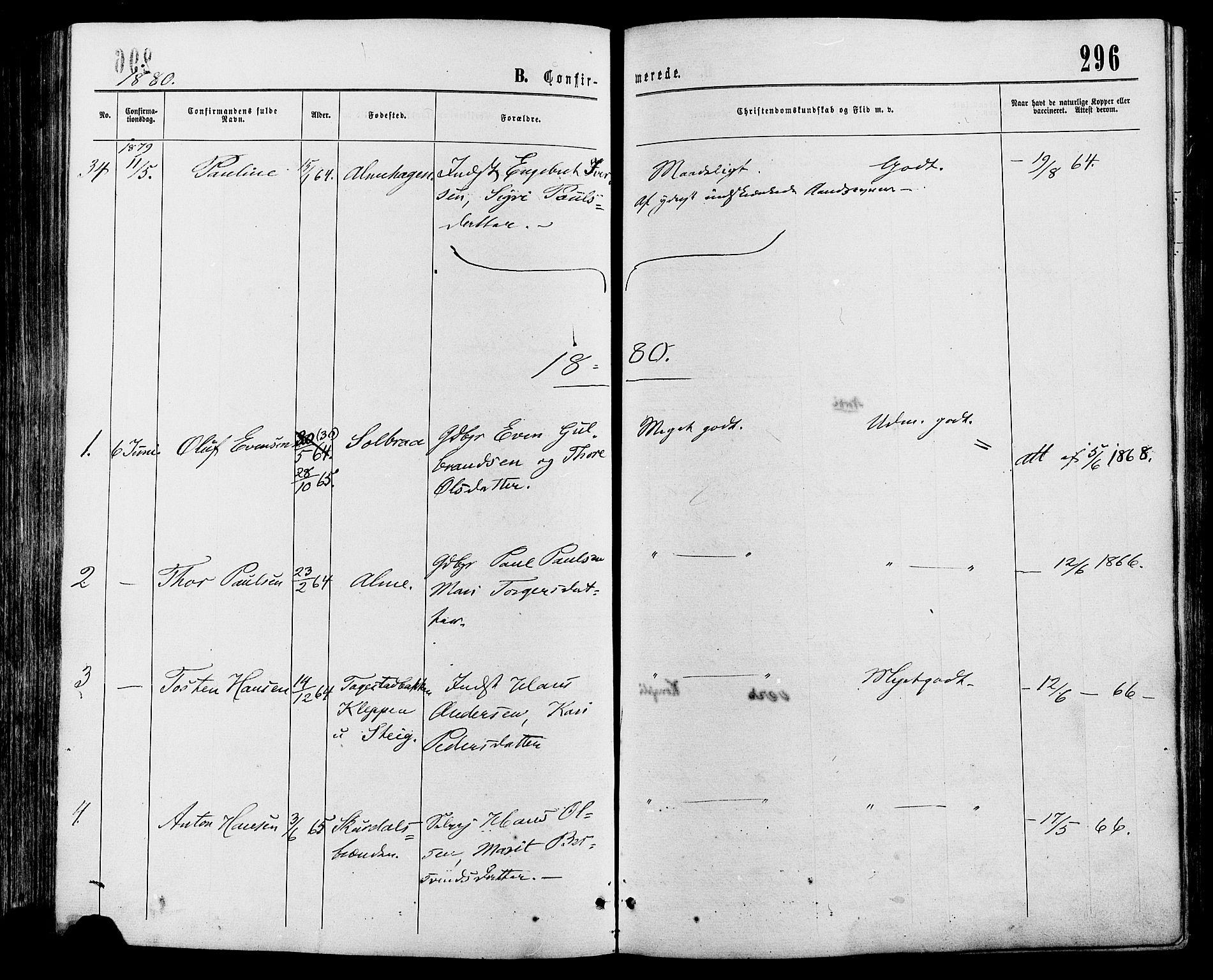 SAH, Sør-Fron prestekontor, H/Ha/Haa/L0002: Ministerialbok nr. 2, 1864-1880, s. 296