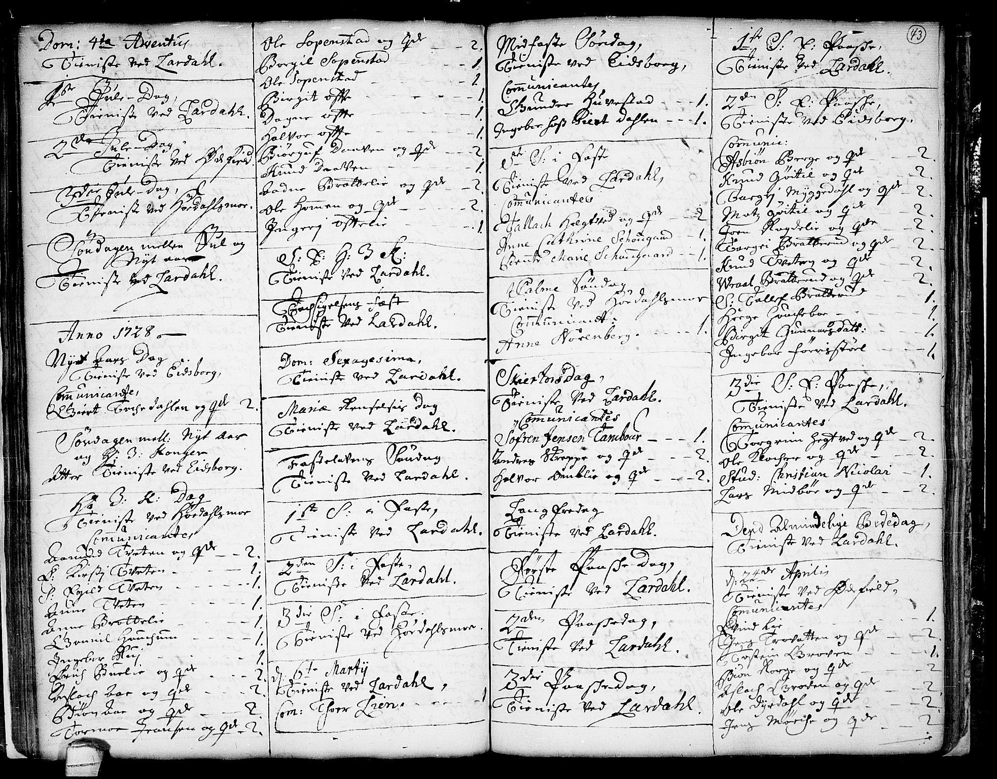 SAKO, Lårdal kirkebøker, F/Fa/L0001: Ministerialbok nr. I 1, 1721-1734, s. 43