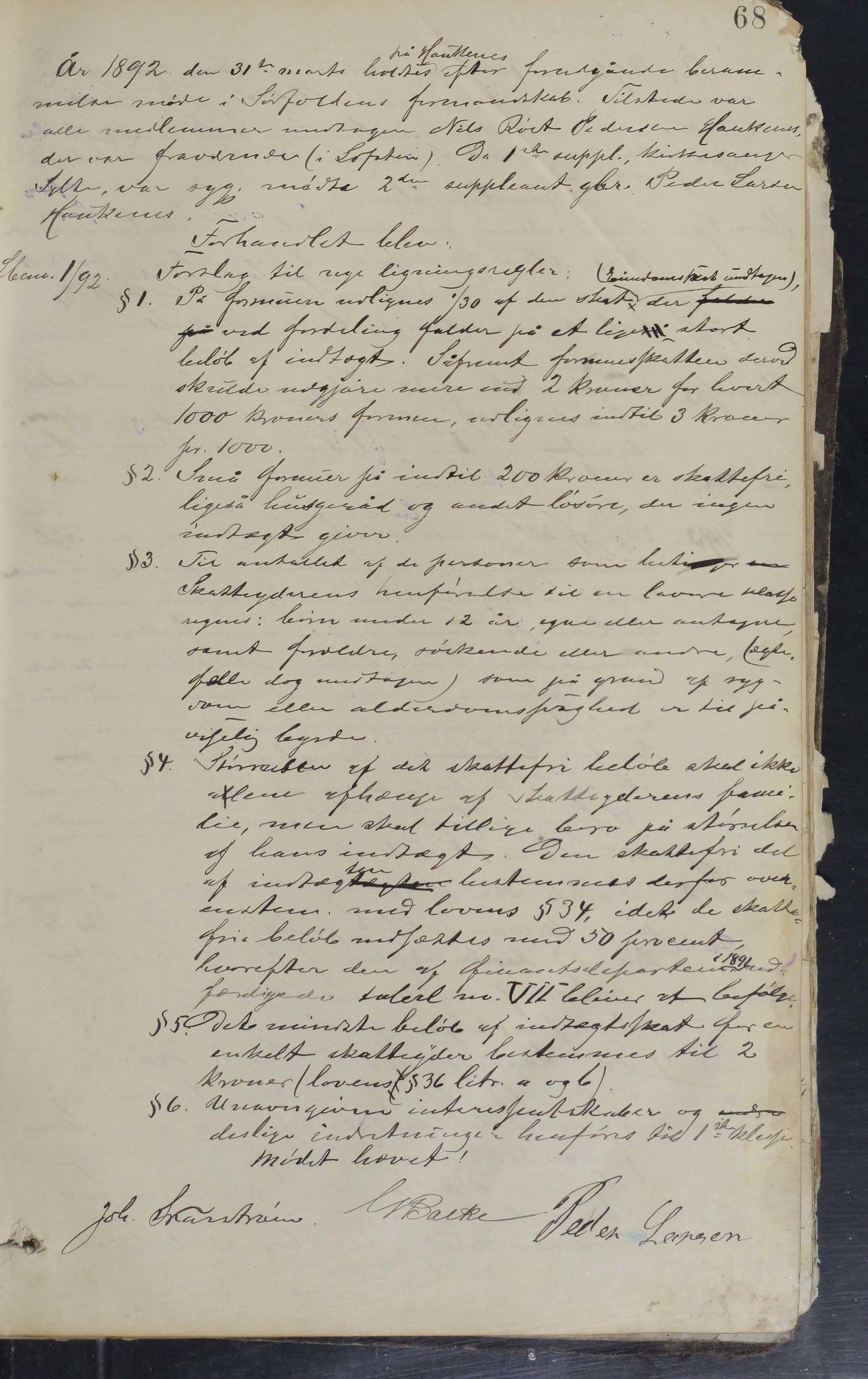 AIN, Sørfold kommune. Formannskap, 100/L0001: Forhandlingsprotokol for Sørfoldens formandskab, 1885-1902, s. 68