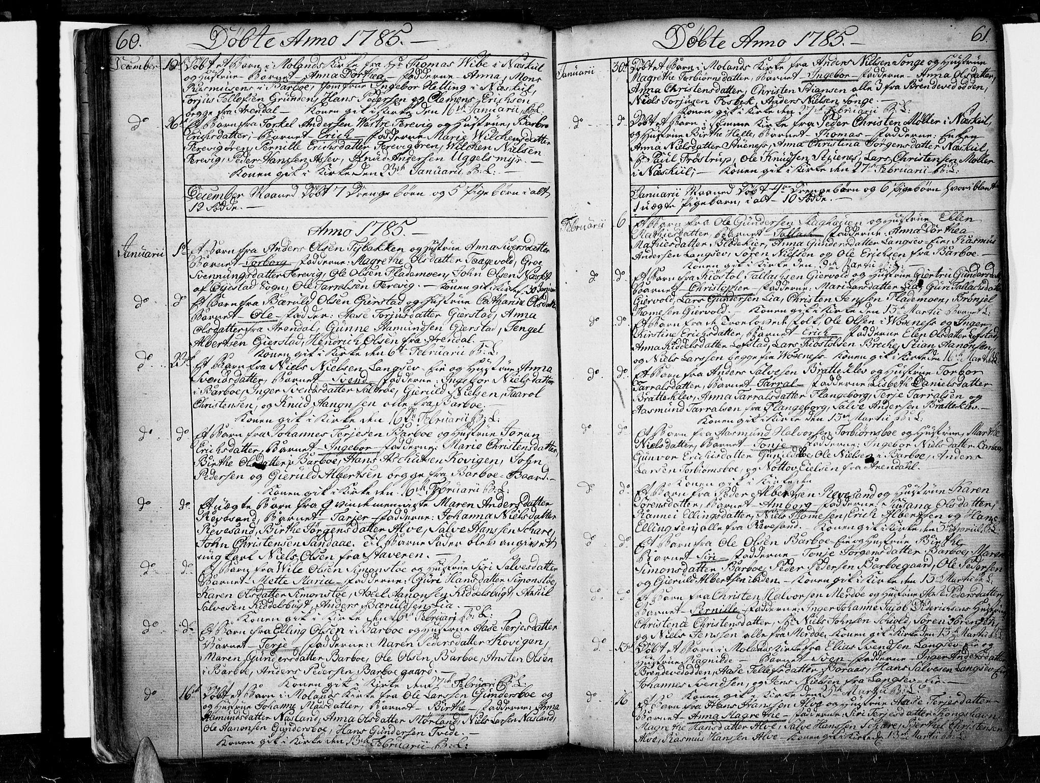 SAK, Tromøy sokneprestkontor, F/Fa/L0002: Ministerialbok nr. A 2, 1773-1808, s. 60-61