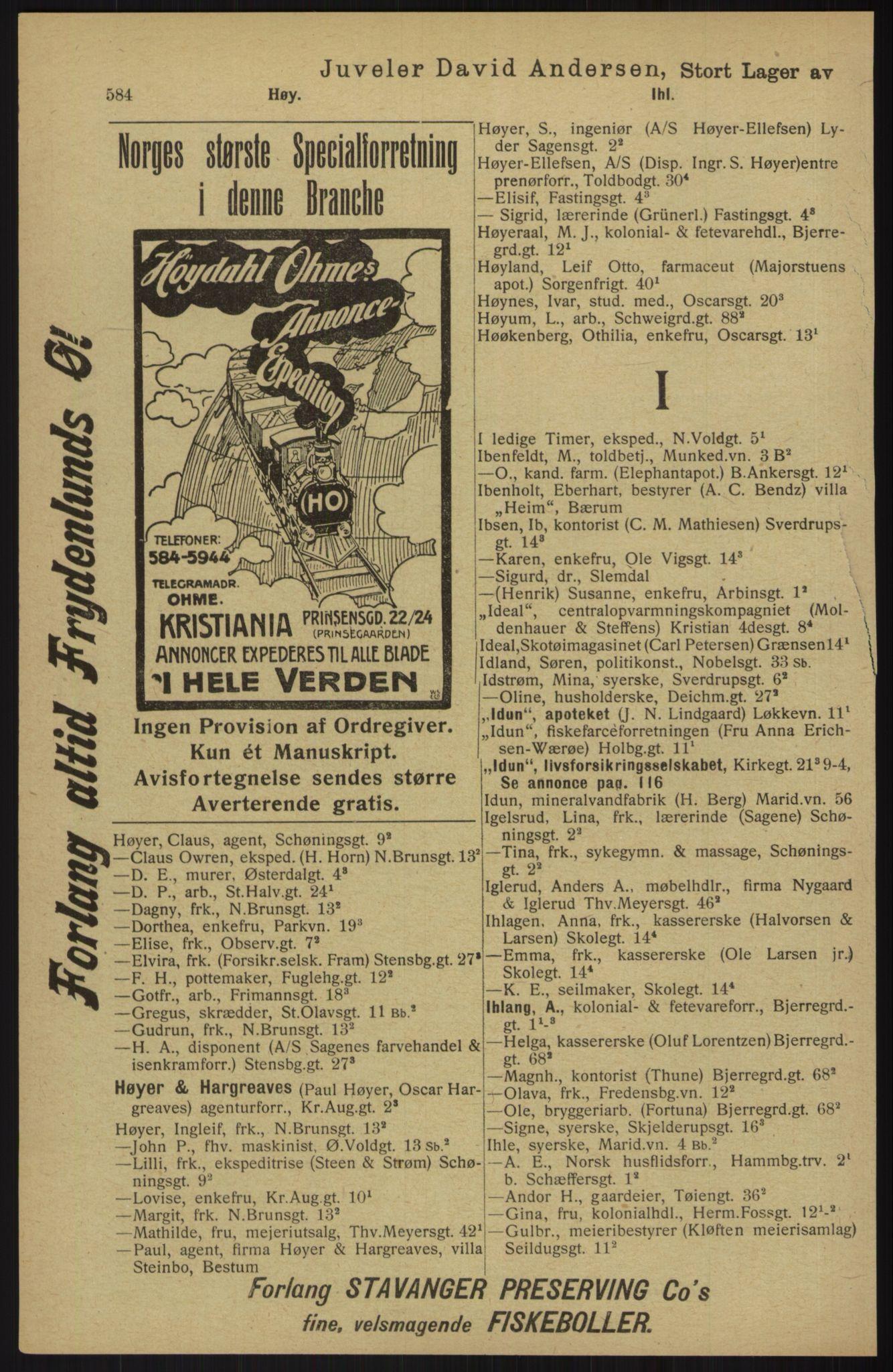RA, Kristiania adressebok (publikasjon)*, 1913, s. 584