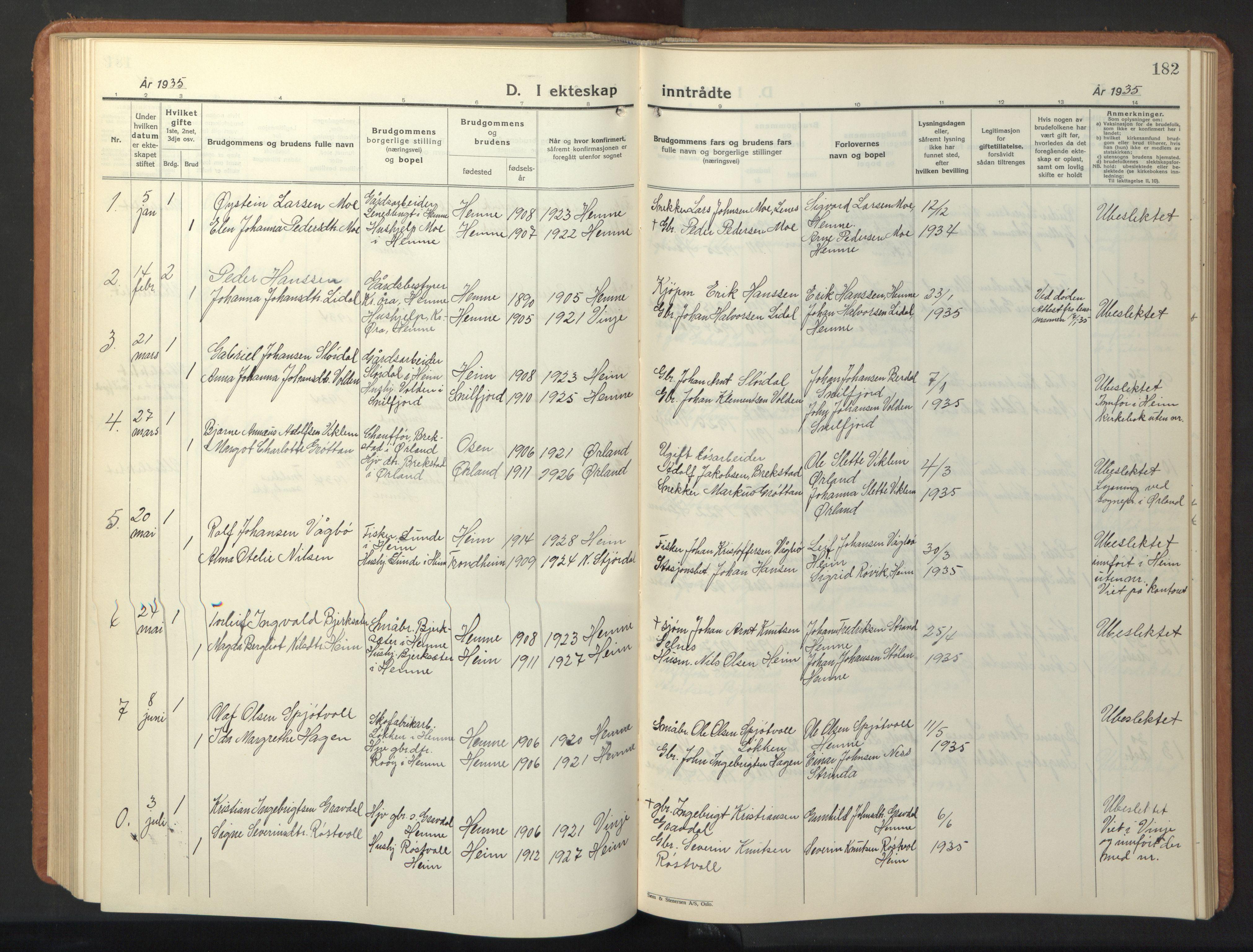 SAT, Ministerialprotokoller, klokkerbøker og fødselsregistre - Sør-Trøndelag, 630/L0508: Klokkerbok nr. 630C06, 1933-1950, s. 182