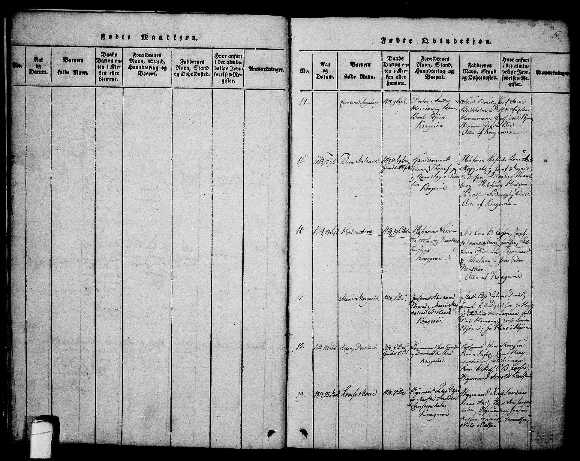 SAKO, Kragerø kirkebøker, G/Ga/L0002: Klokkerbok nr. 2, 1814-1831, s. 5