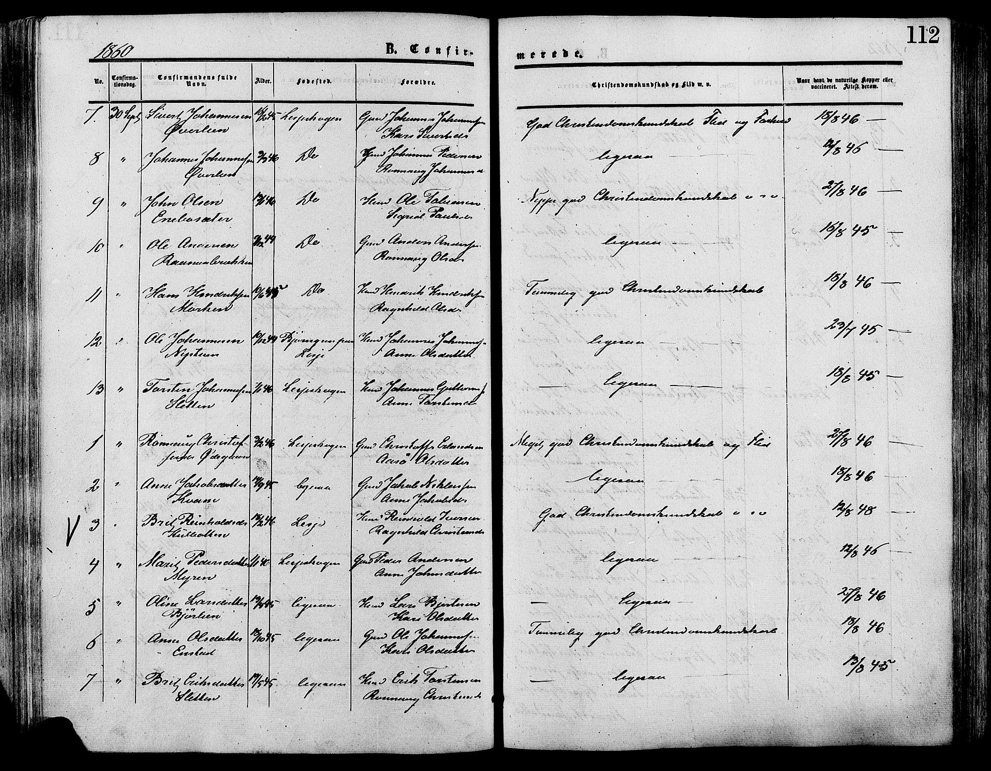 SAH, Lesja prestekontor, Ministerialbok nr. 9, 1854-1889, s. 112