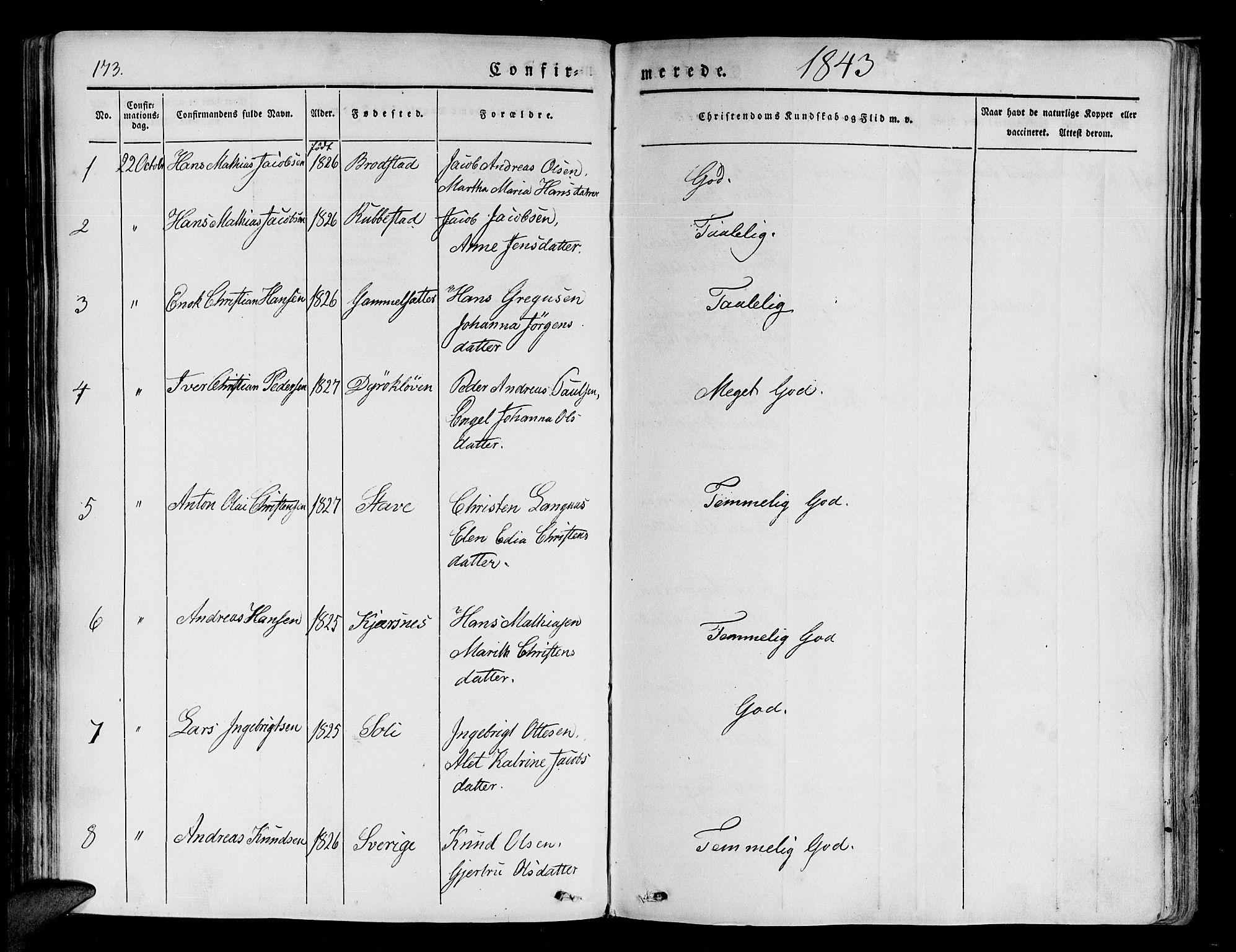 SATØ, Tranøy sokneprestkontor, I/Ia/Iaa/L0005kirke: Ministerialbok nr. 5, 1829-1844, s. 173