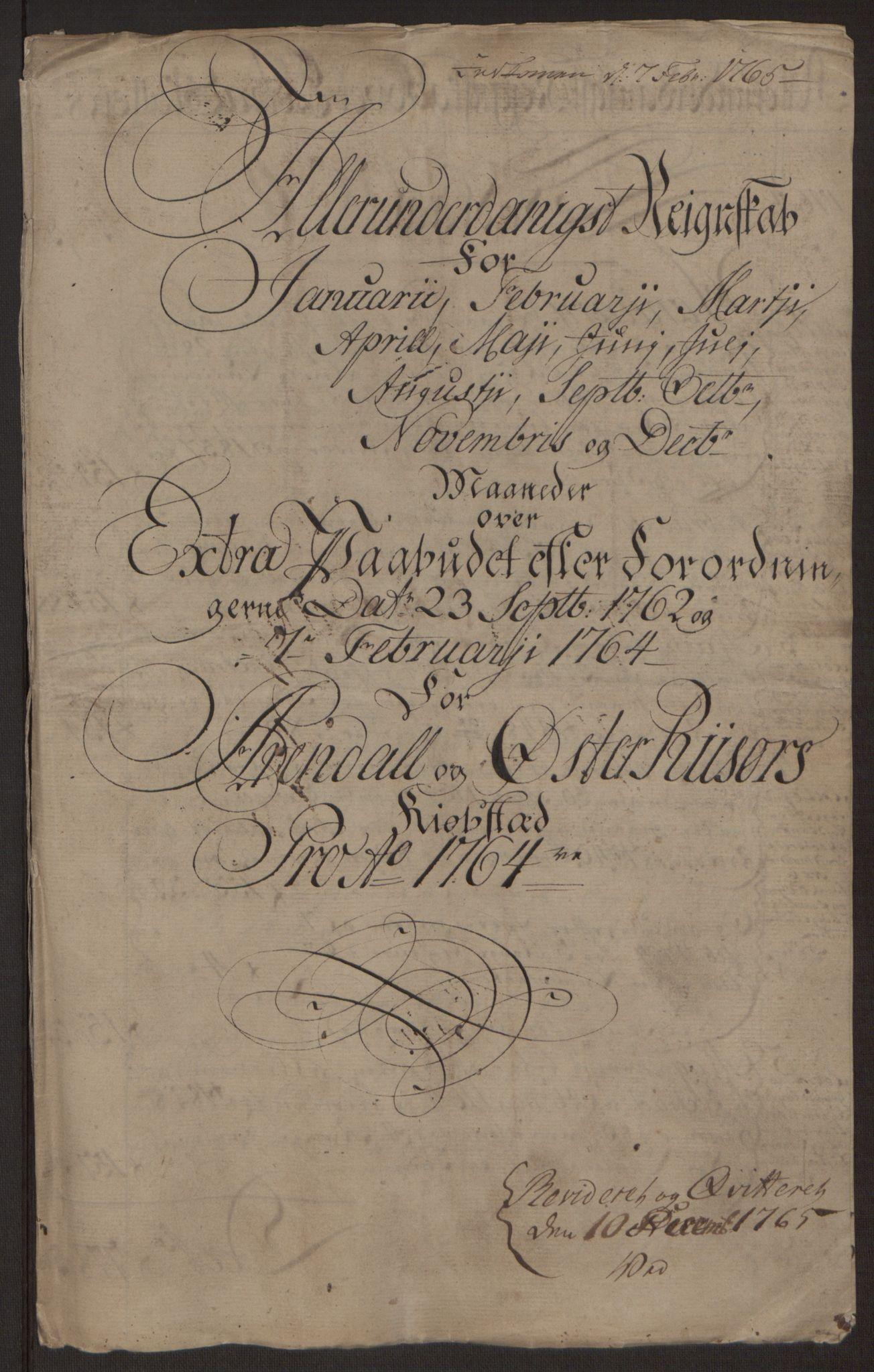 RA, Rentekammeret inntil 1814, Reviderte regnskaper, Byregnskaper, R/Rl/L0230: [L4] Kontribusjonsregnskap, 1762-1764, s. 391
