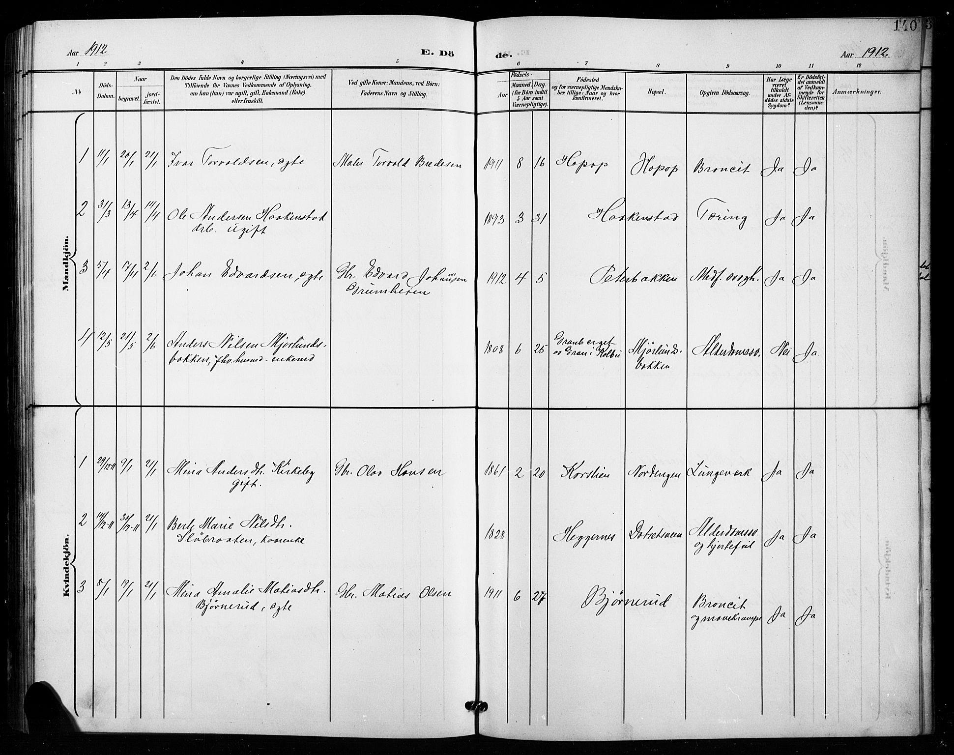 SAH, Vestre Toten prestekontor, Klokkerbok nr. 16, 1901-1915, s. 140