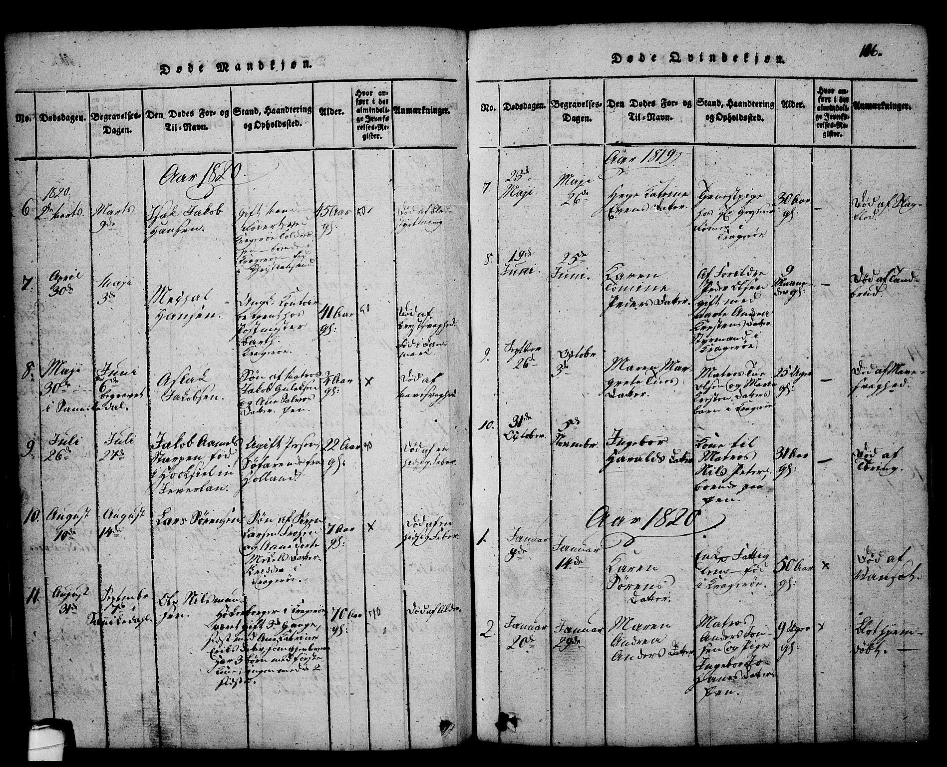 SAKO, Kragerø kirkebøker, G/Ga/L0002: Klokkerbok nr. 2, 1814-1831, s. 106
