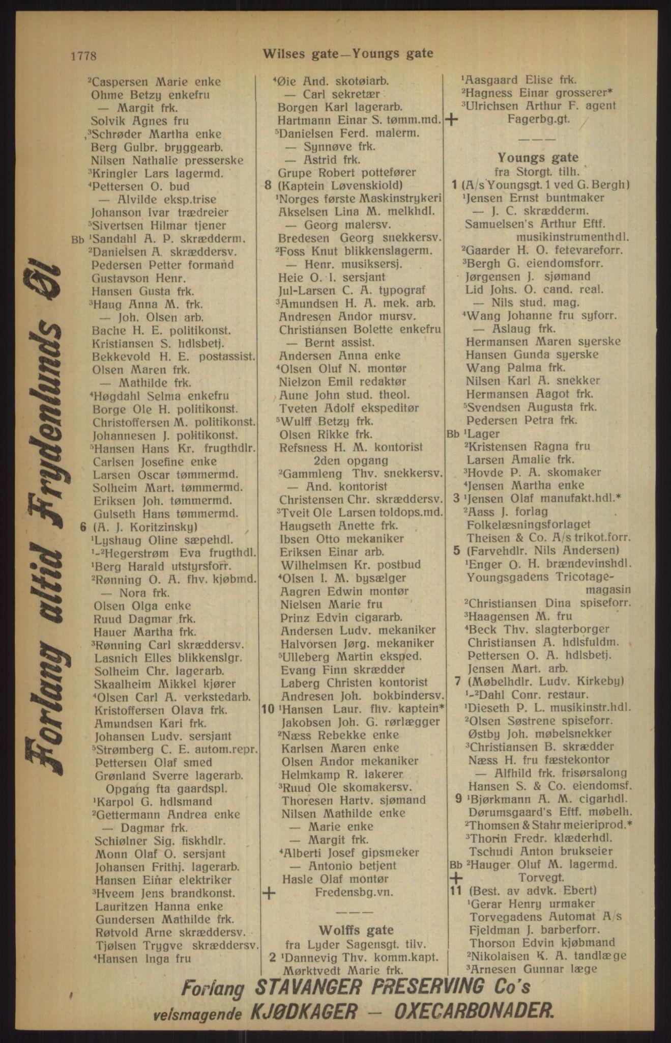 RA, Kristiania adressebok (publikasjon)*, 1915, s. 1778